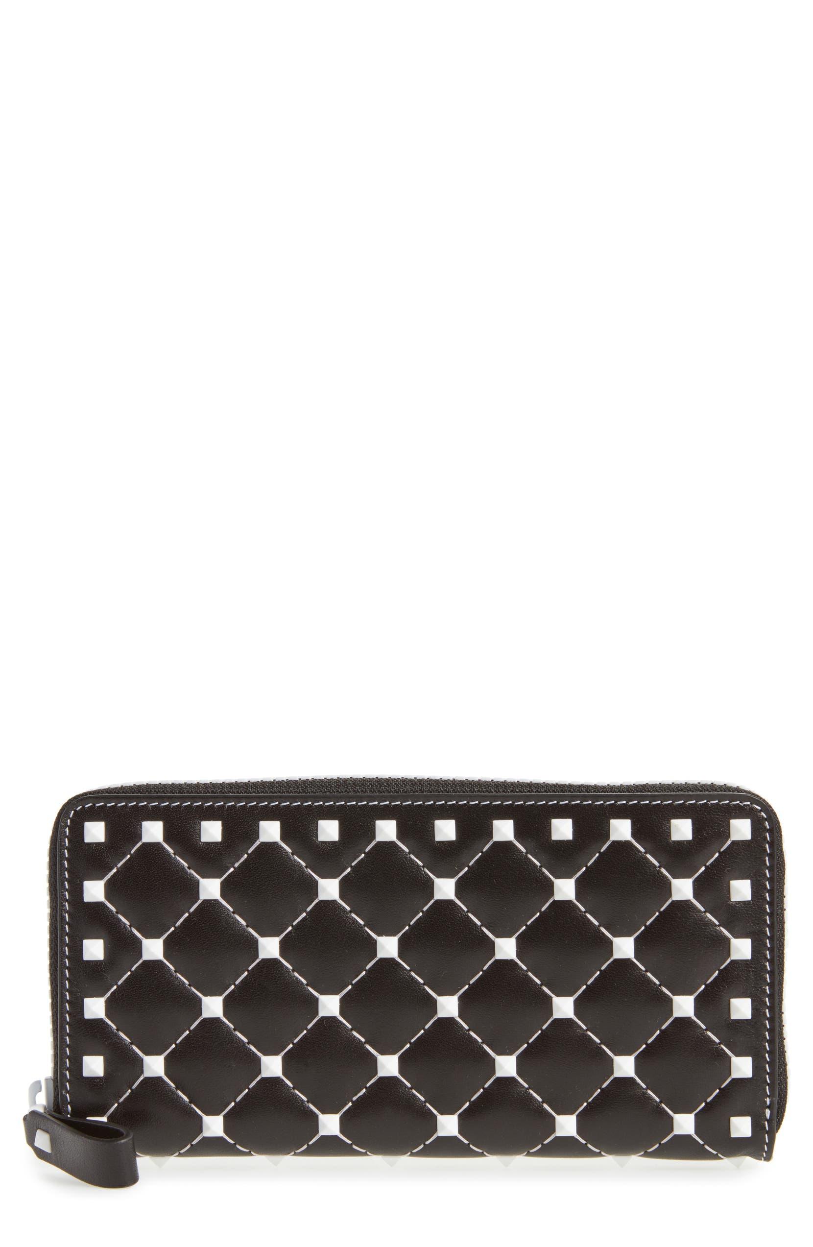 VALENTINO GARAVANI Rockstud Spike Zip Around Leather Wallet  7a8a6451195b4