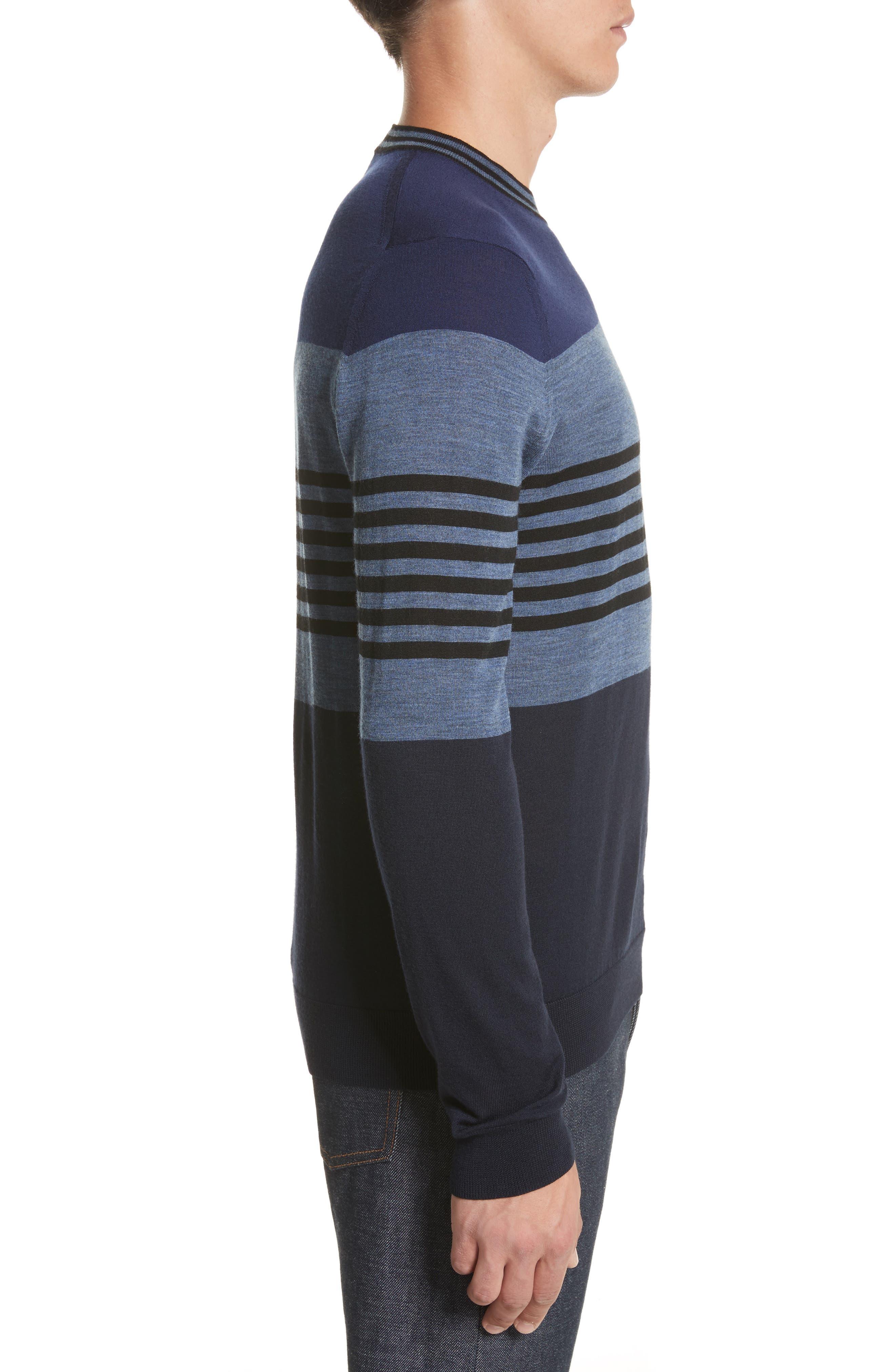 Stripe Merino Wool Crewneck Sweater,                             Alternate thumbnail 6, color,