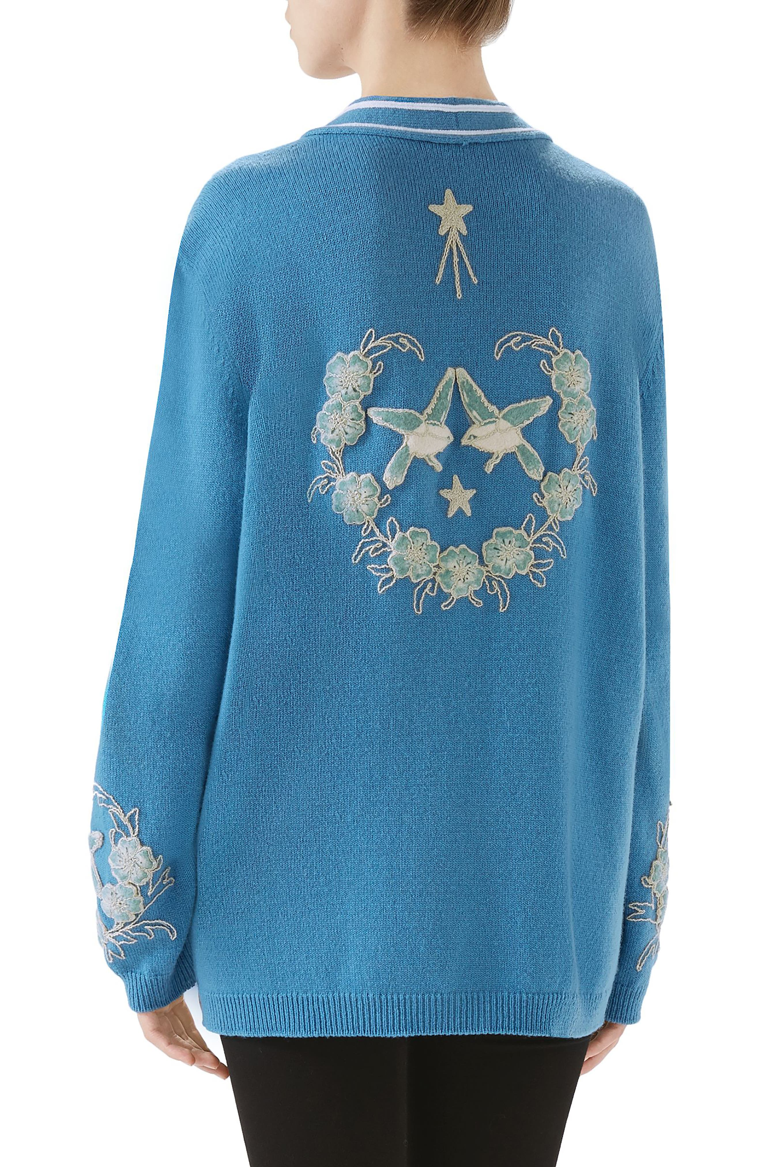NY Embroidered Wool Cardigan,                             Alternate thumbnail 2, color,                             BLUE