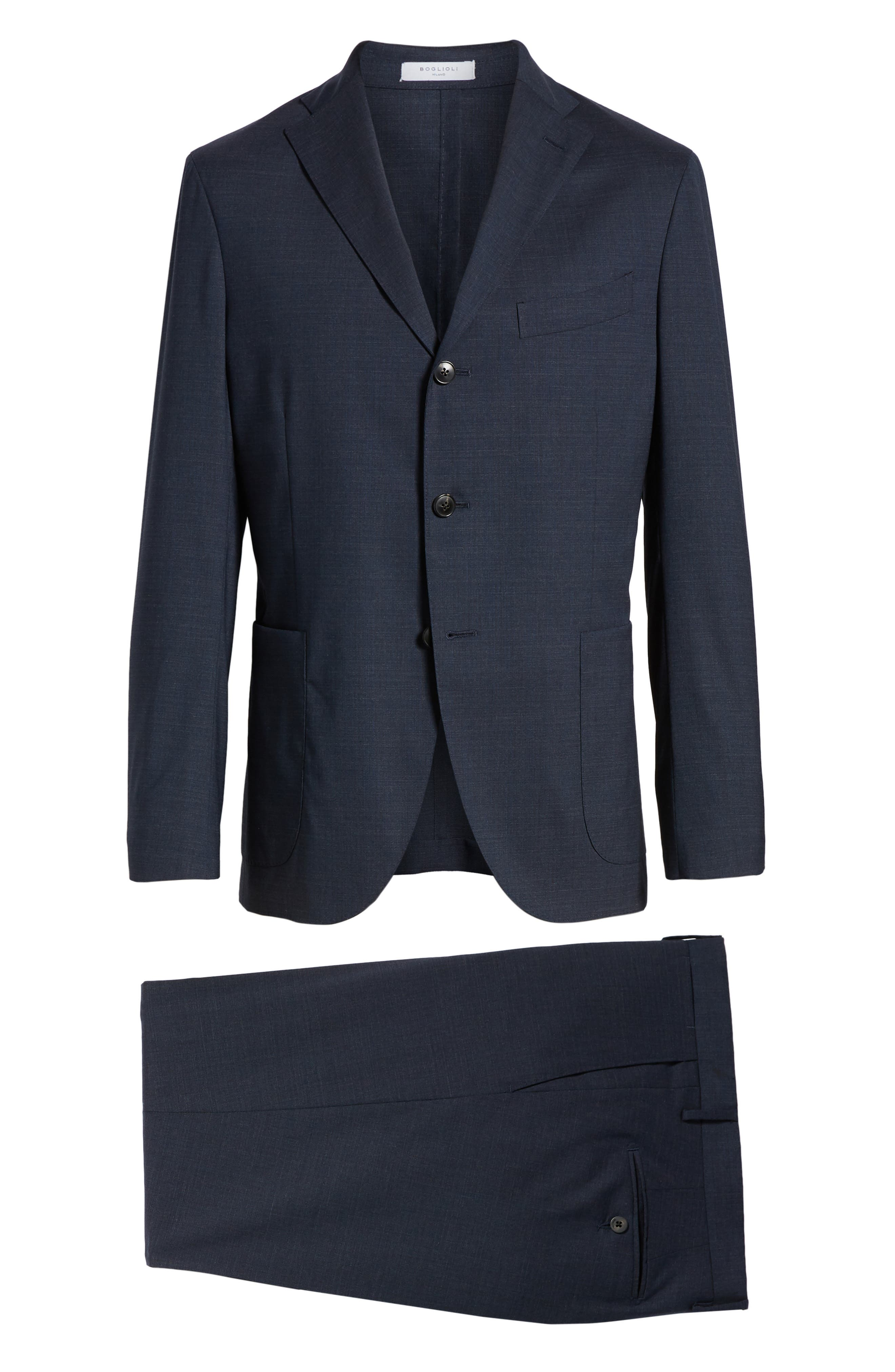 Trim Fit Stretch Solid Wool Suit,                             Alternate thumbnail 8, color,                             NAVY