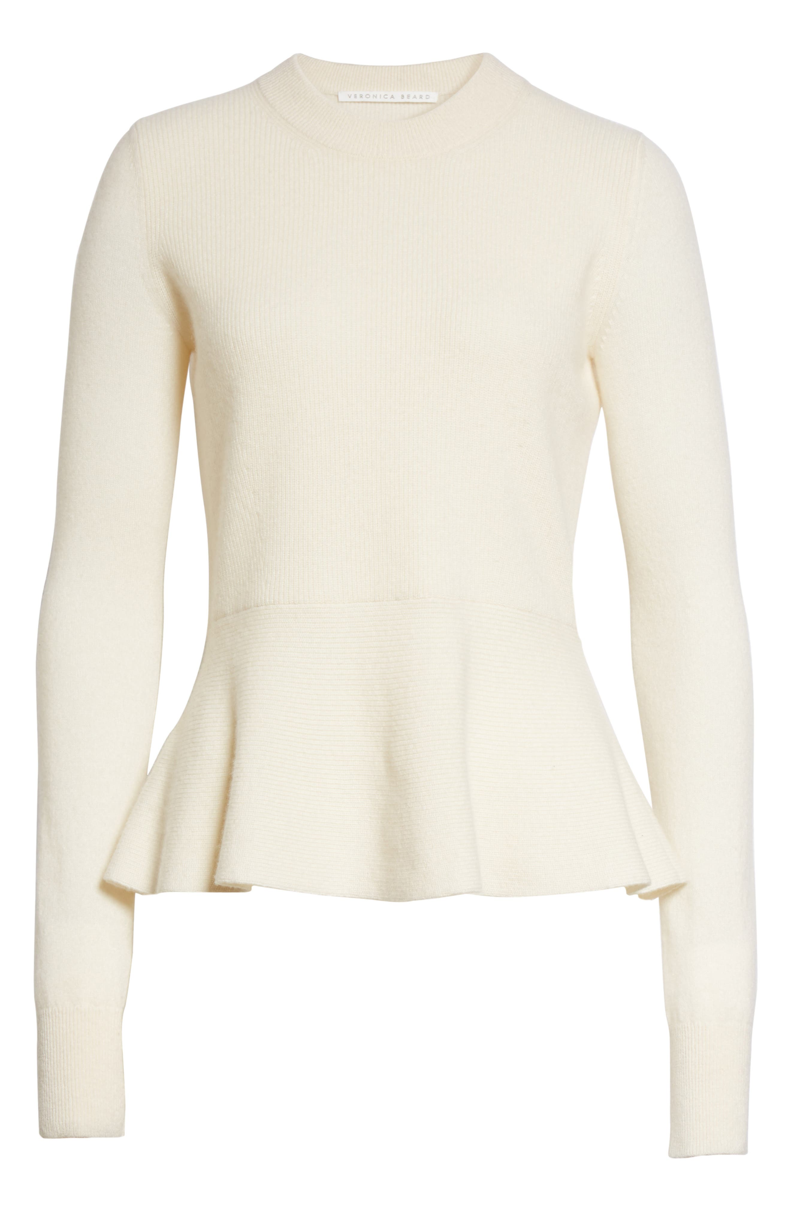 Raleigh Cashmere Peplum Sweater,                             Alternate thumbnail 18, color,