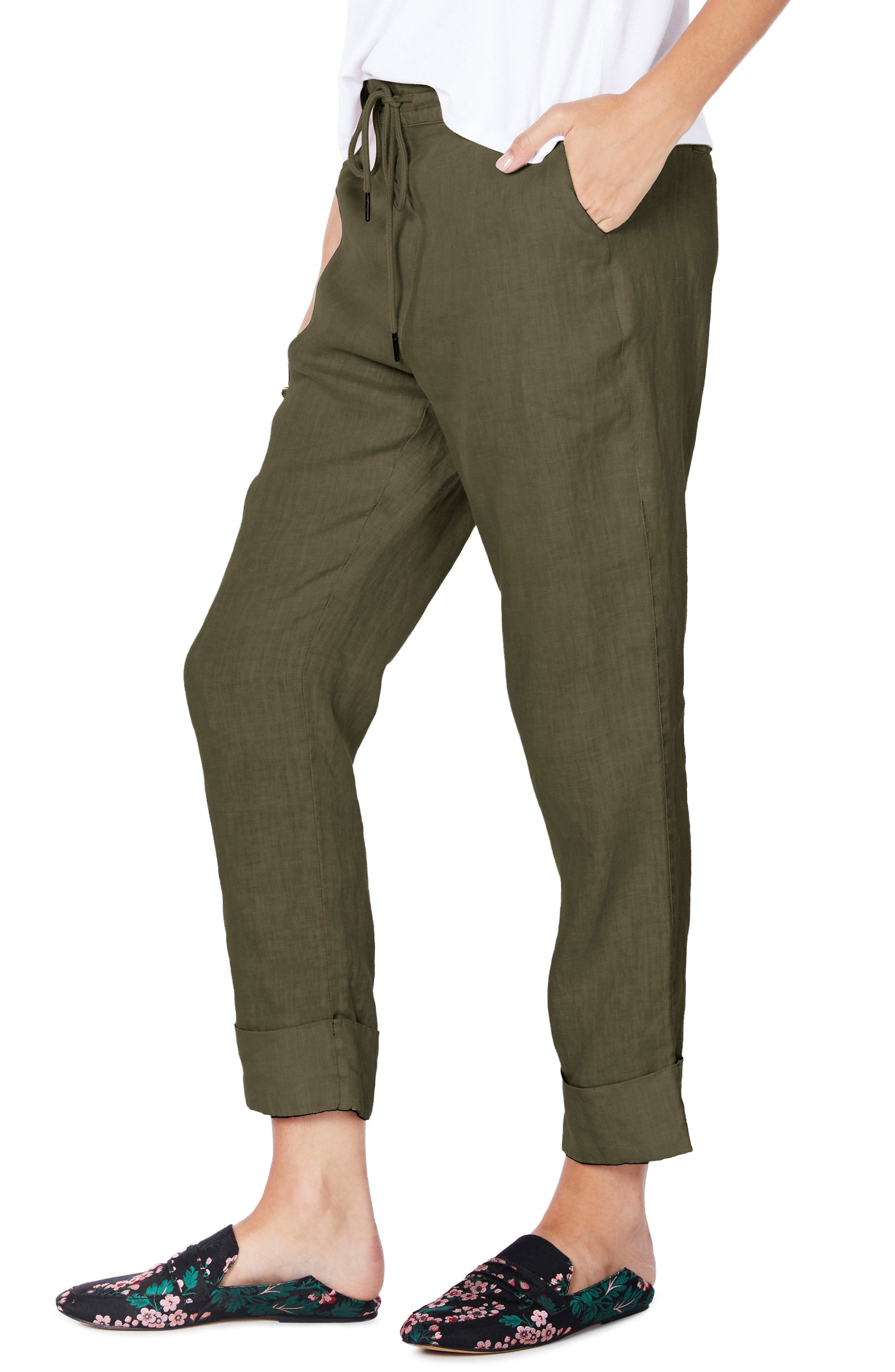Cuffed Linen Pants,                             Alternate thumbnail 8, color,