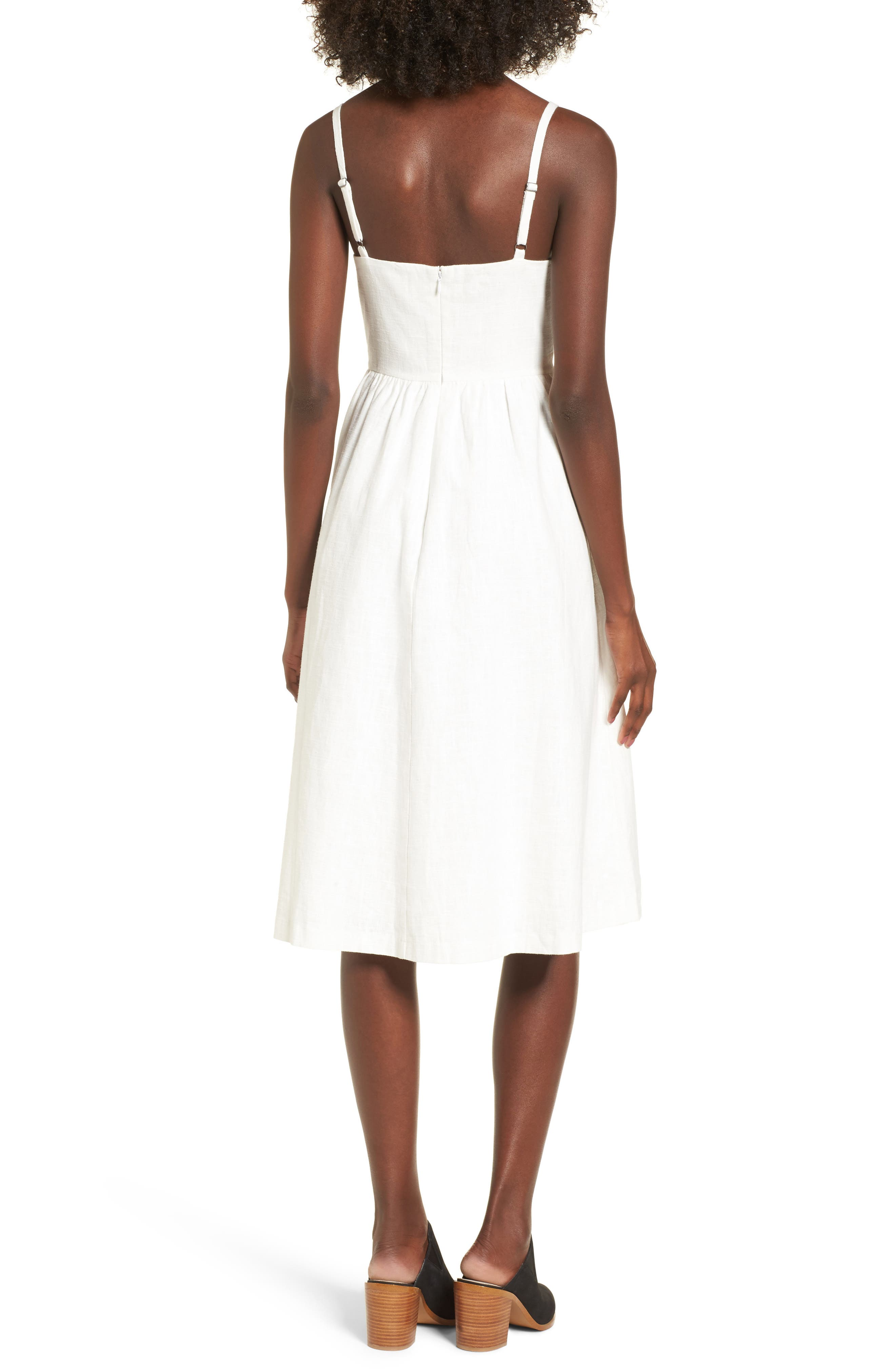 Cotton & Linen Ballerina Midi Dress,                             Alternate thumbnail 2, color,                             WHITE