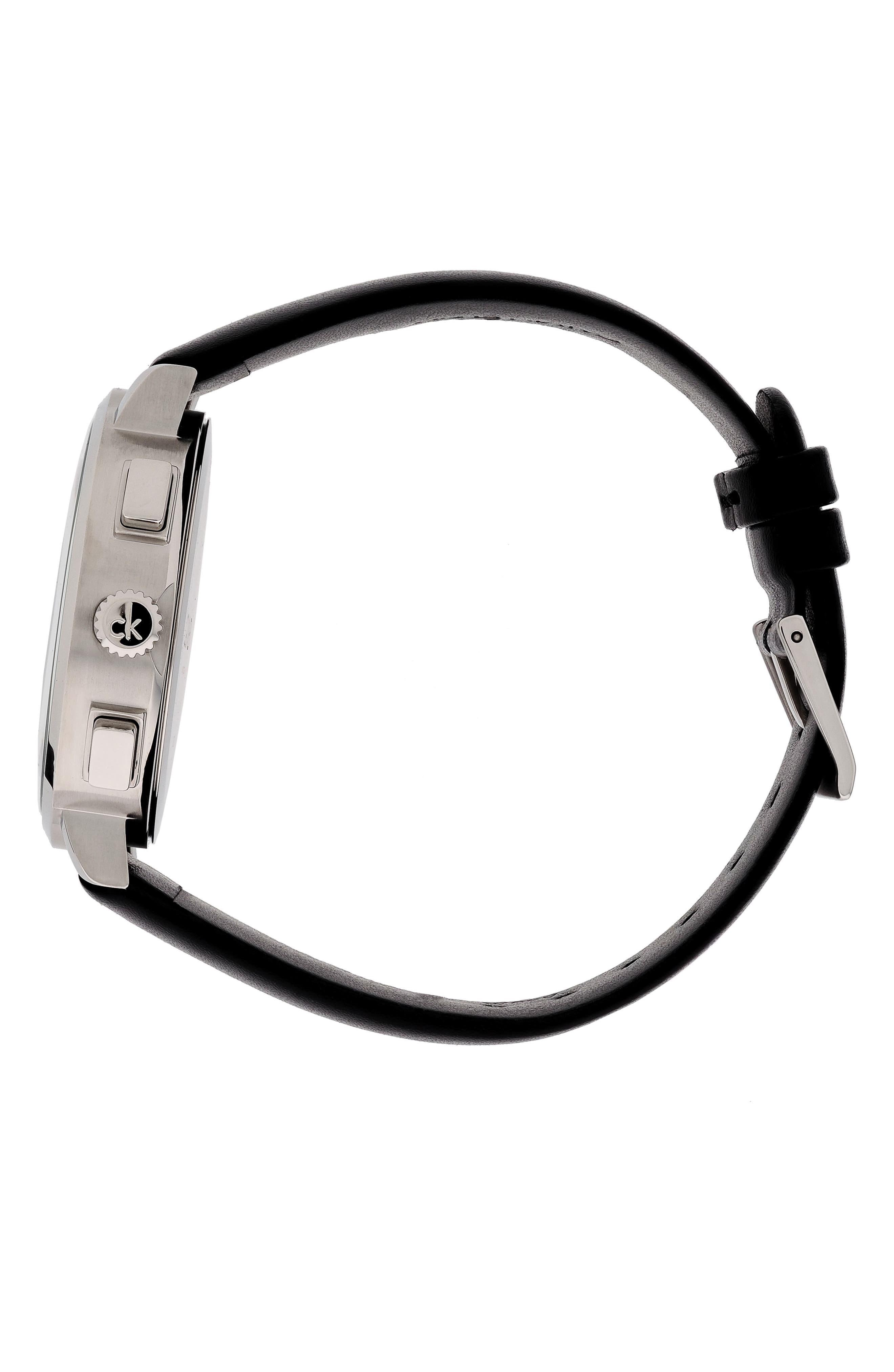 Posh Chronograph Leather Band Watch, 42mm,                             Alternate thumbnail 3, color,                             BLACK/ SILVER/ BLACK