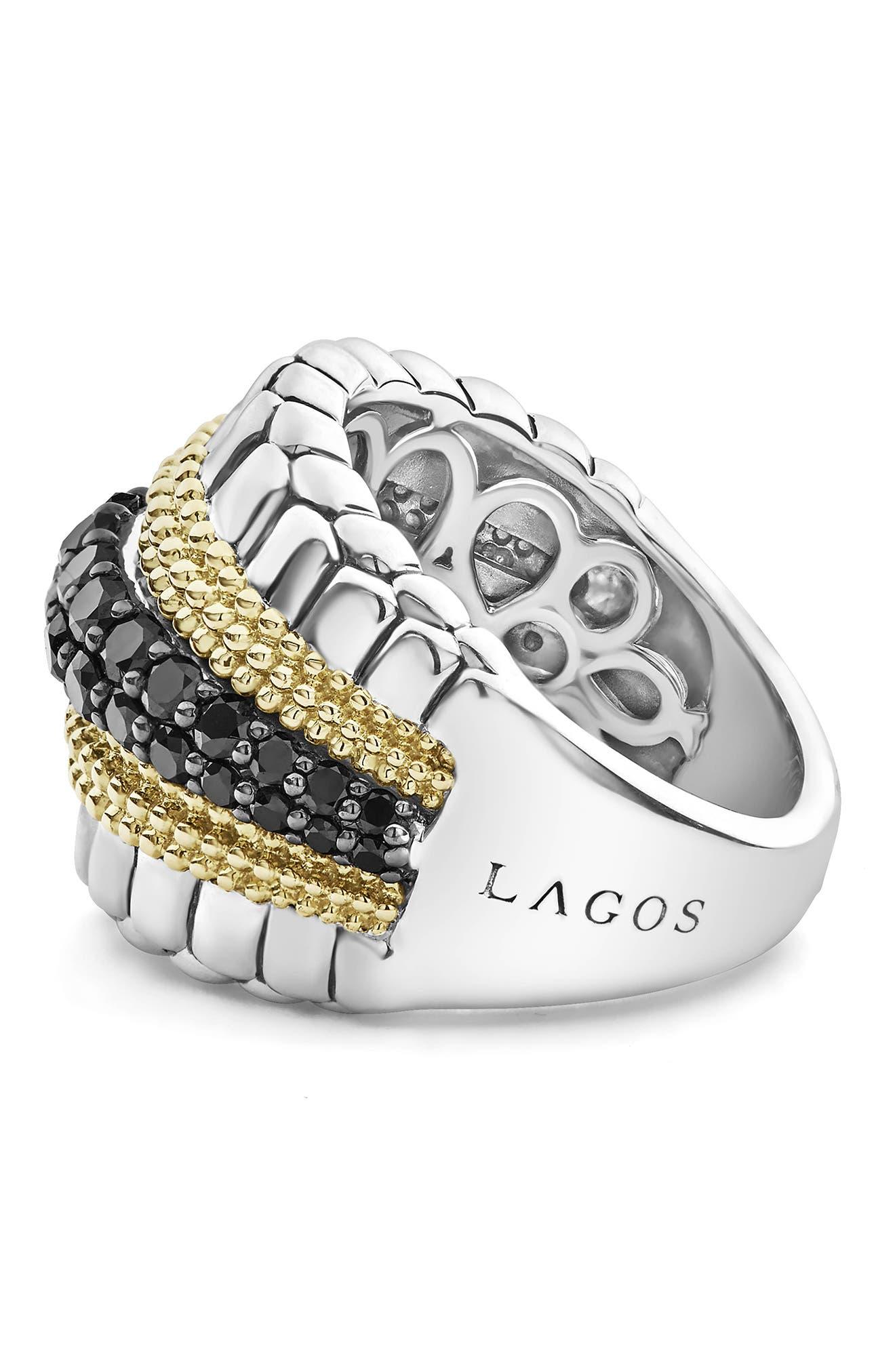 Diamond Lux Black Diamond Band Ring,                             Alternate thumbnail 3, color,                             SILVER/ GOLD/ BLACK DIAMOND