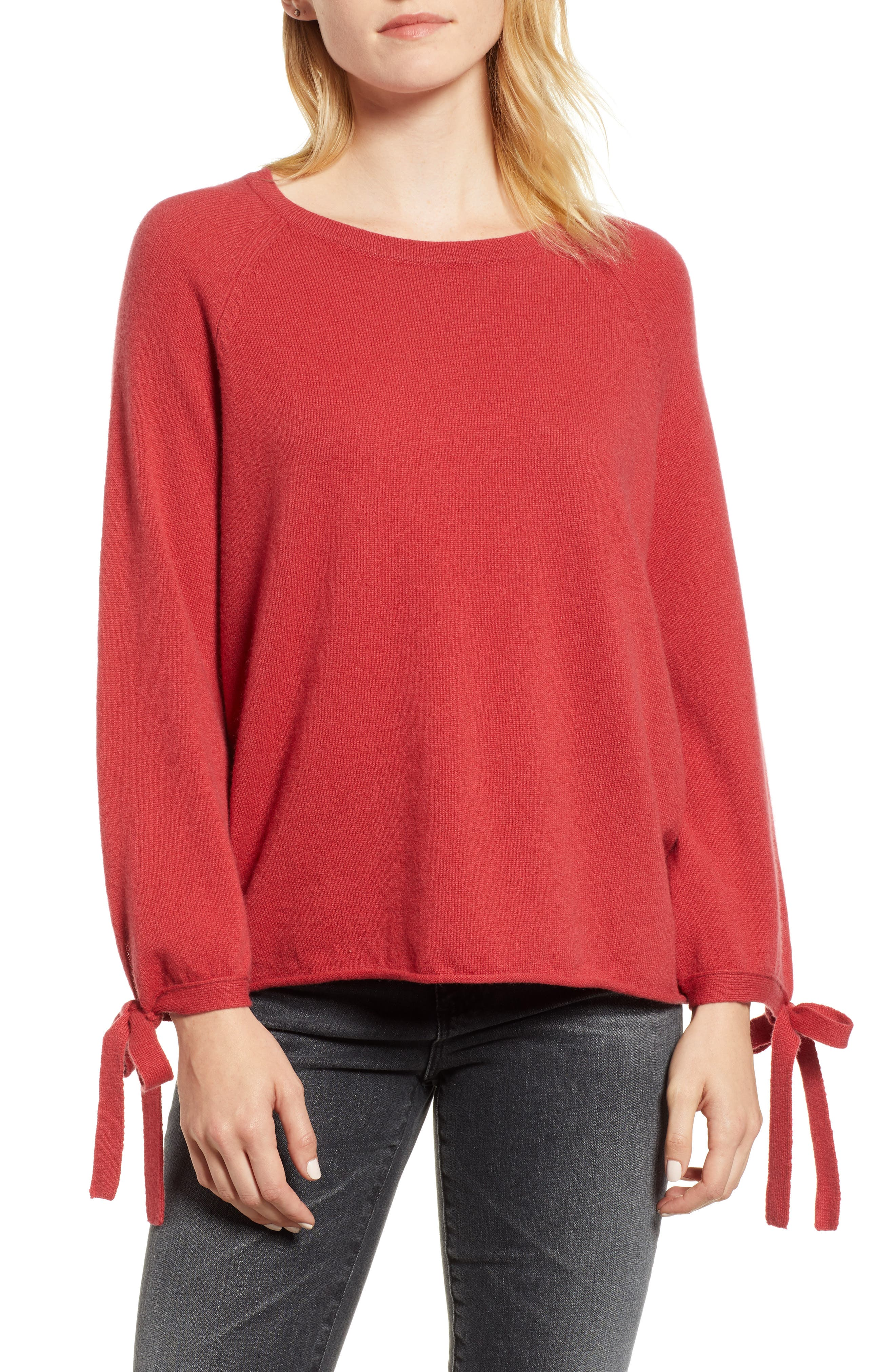 Cashmere Tie Sleeve Sweater,                             Main thumbnail 1, color,                             SNAPPER