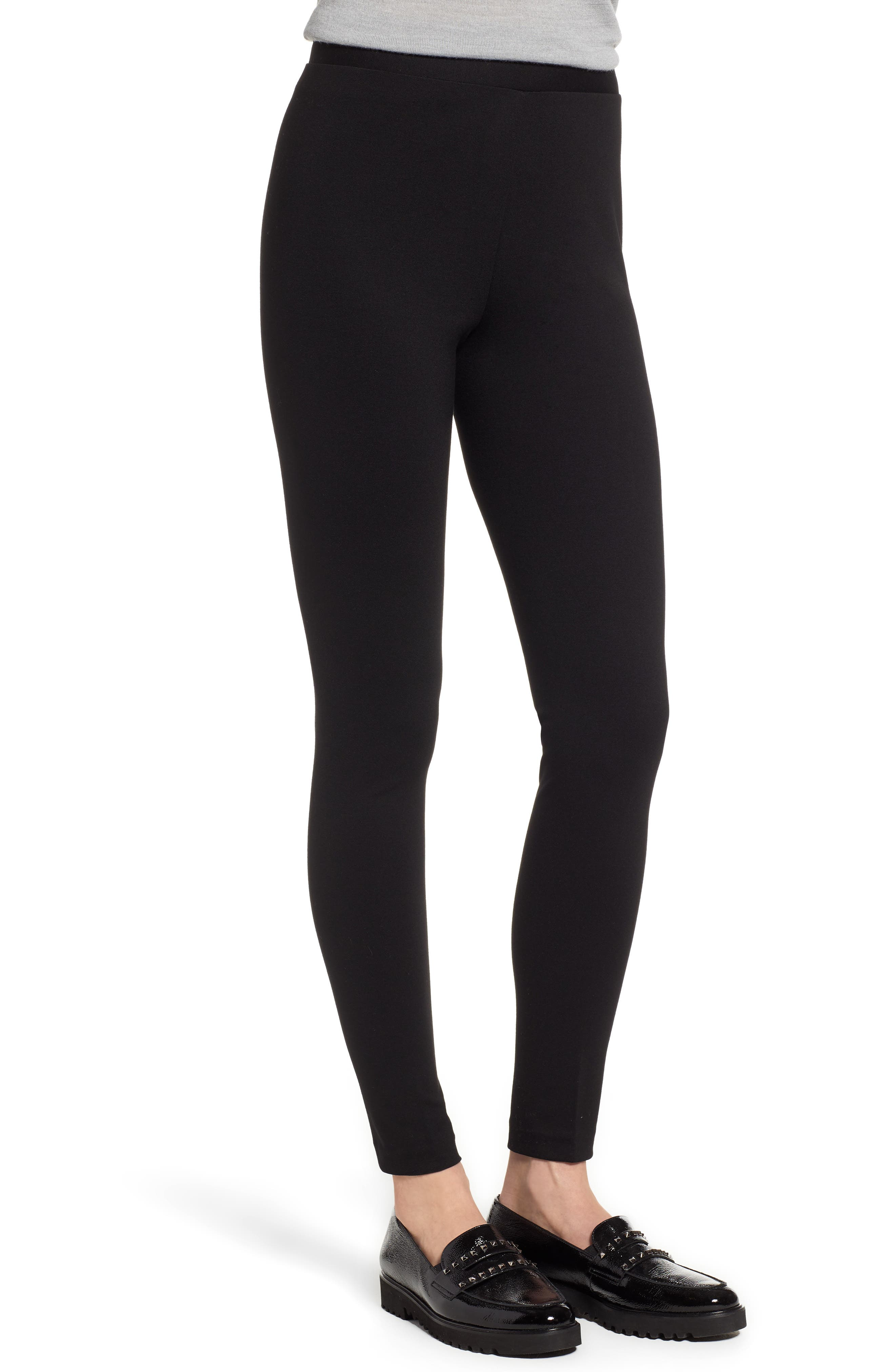 Two by Vince Camuto Seamed Back Leggings,                             Alternate thumbnail 3, color,                             RICH BLACK