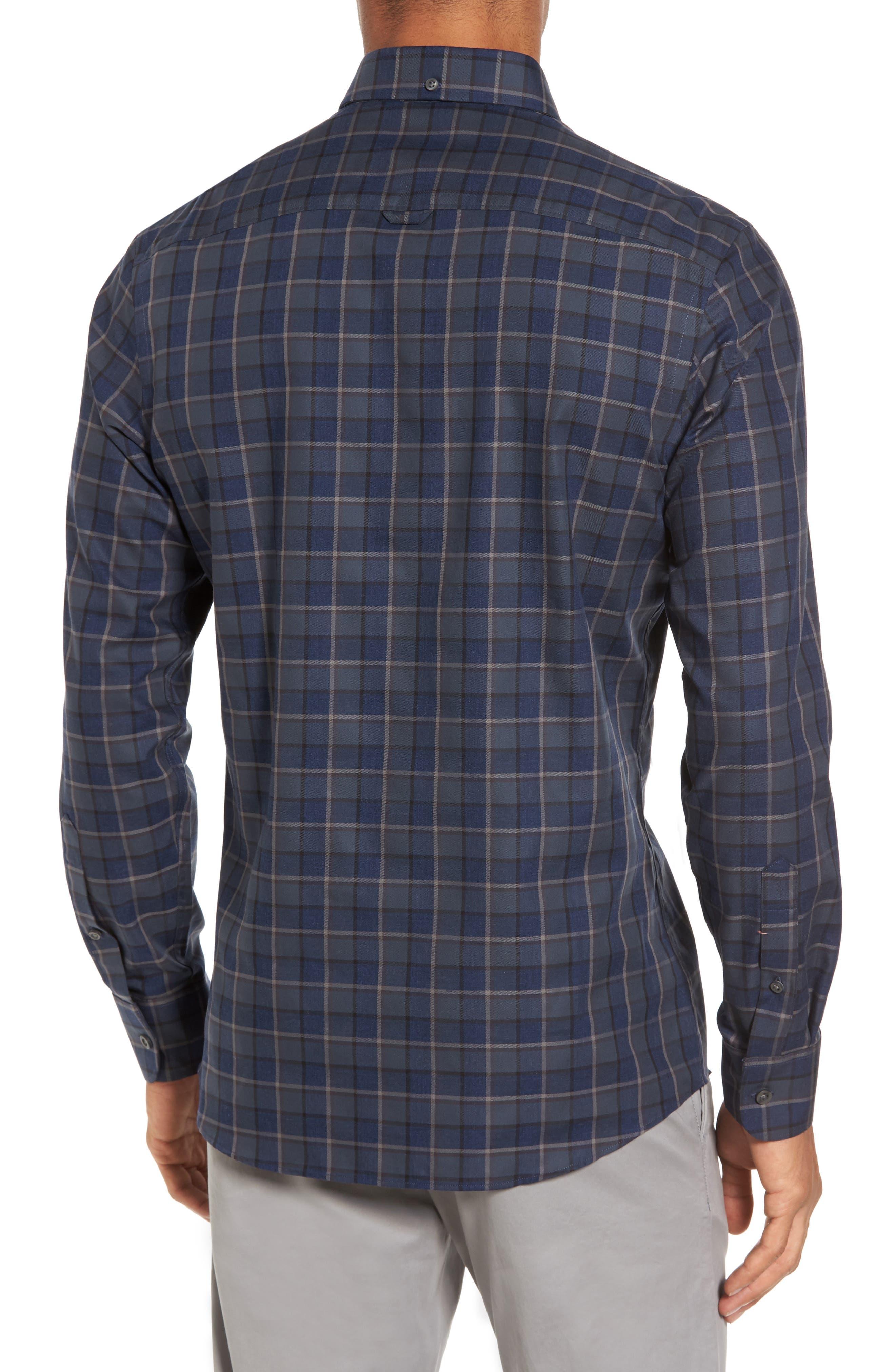 Trim Fit Non-Iron Plaid Sport Shirt,                             Alternate thumbnail 2, color,                             021