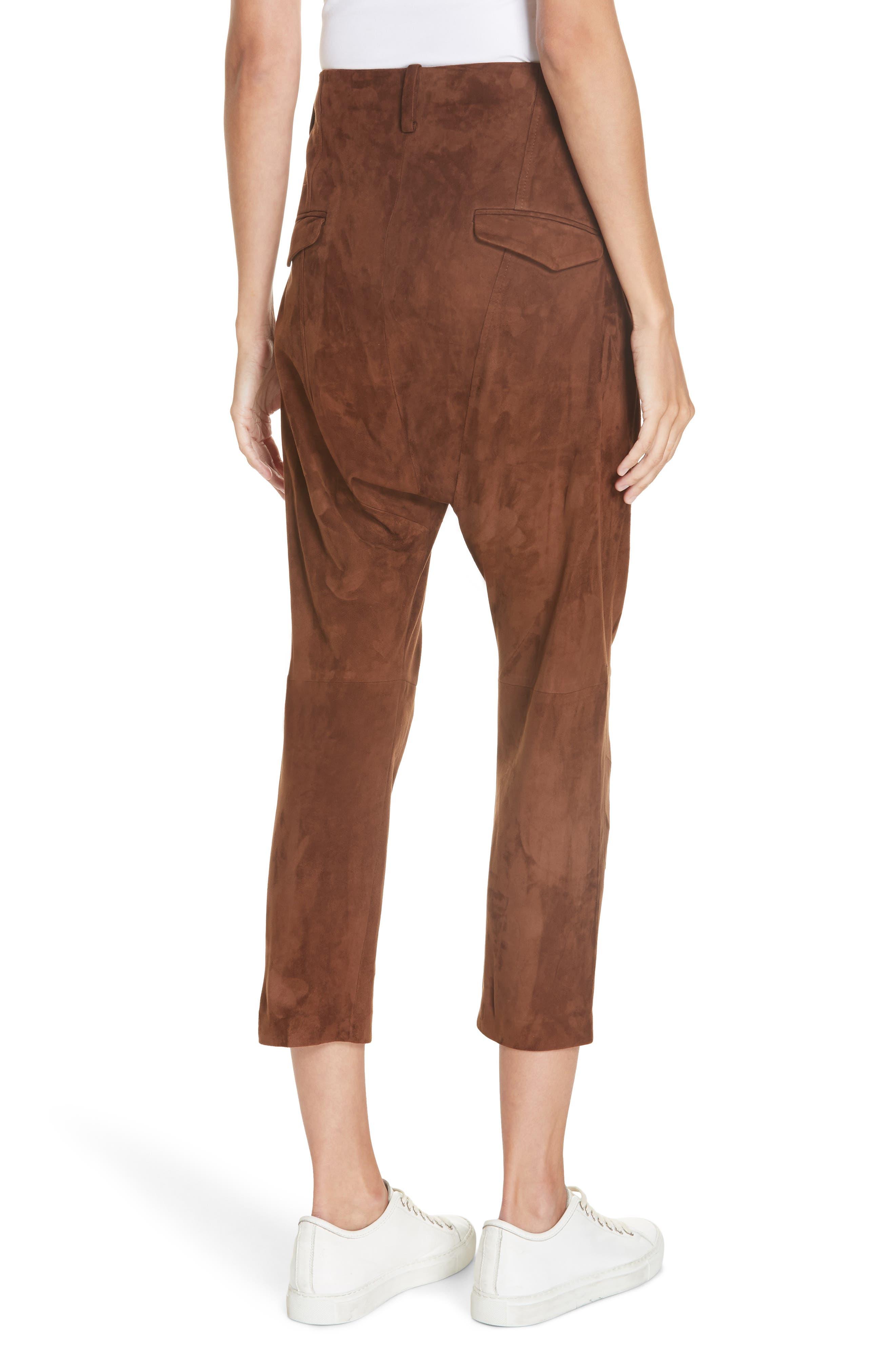 NILI LOTAN,                             Paris Leather Pants,                             Alternate thumbnail 2, color,                             DARK COGNAC