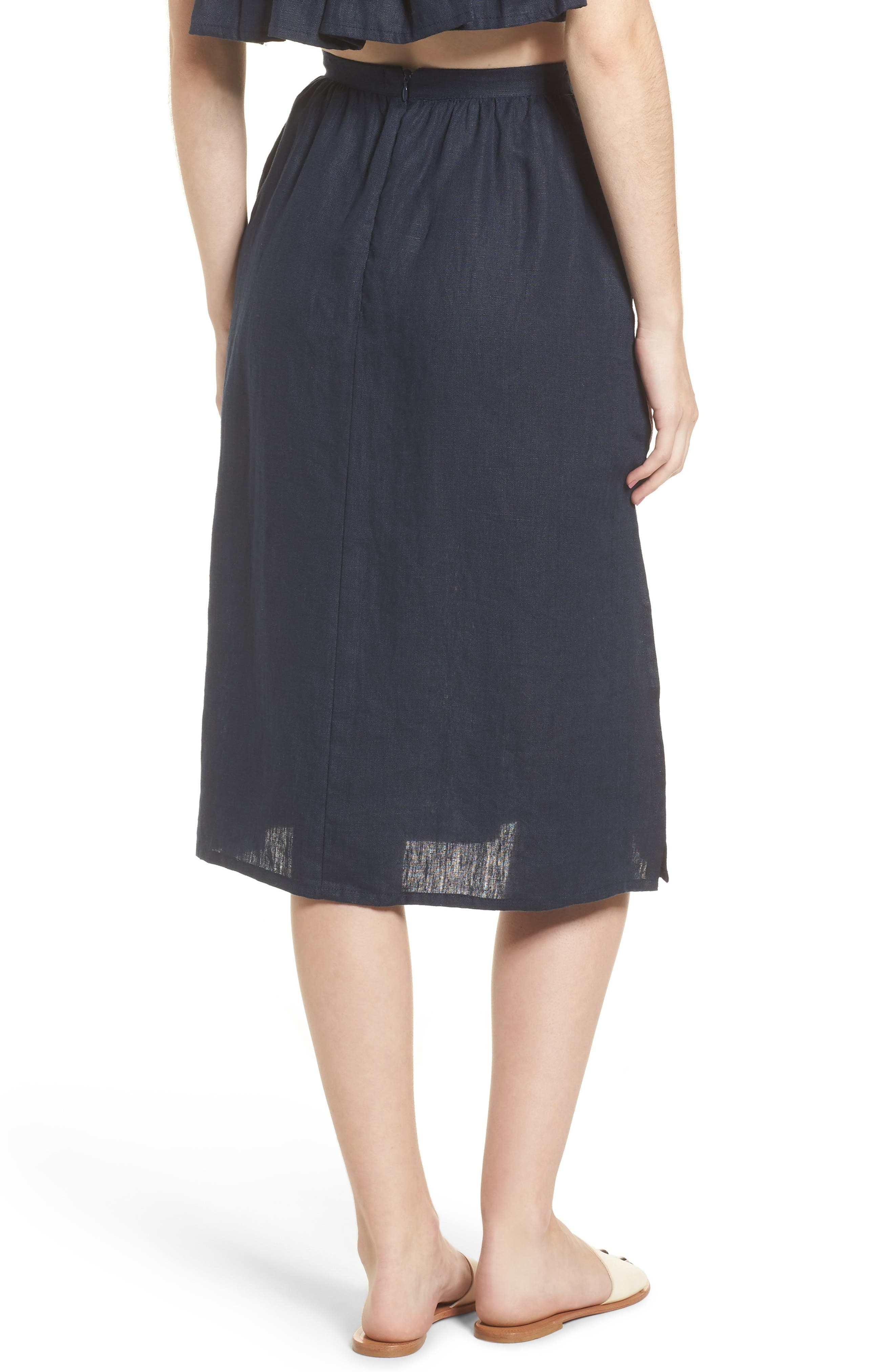 Seine Linen Midi Skirt,                             Alternate thumbnail 2, color,                             400