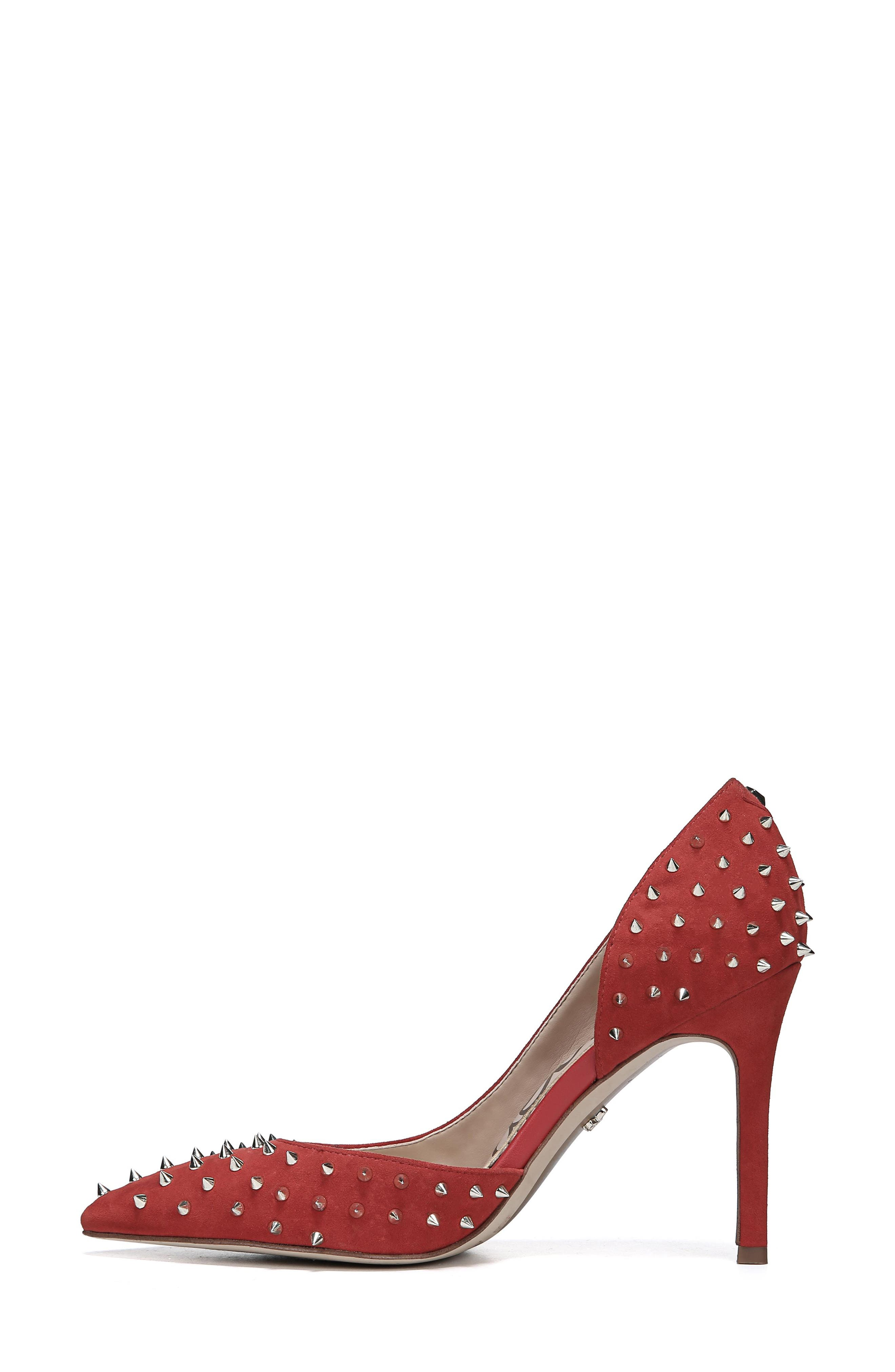 Hadlee d'Orsay Pump,                             Alternate thumbnail 9, color,                             RED SUEDE