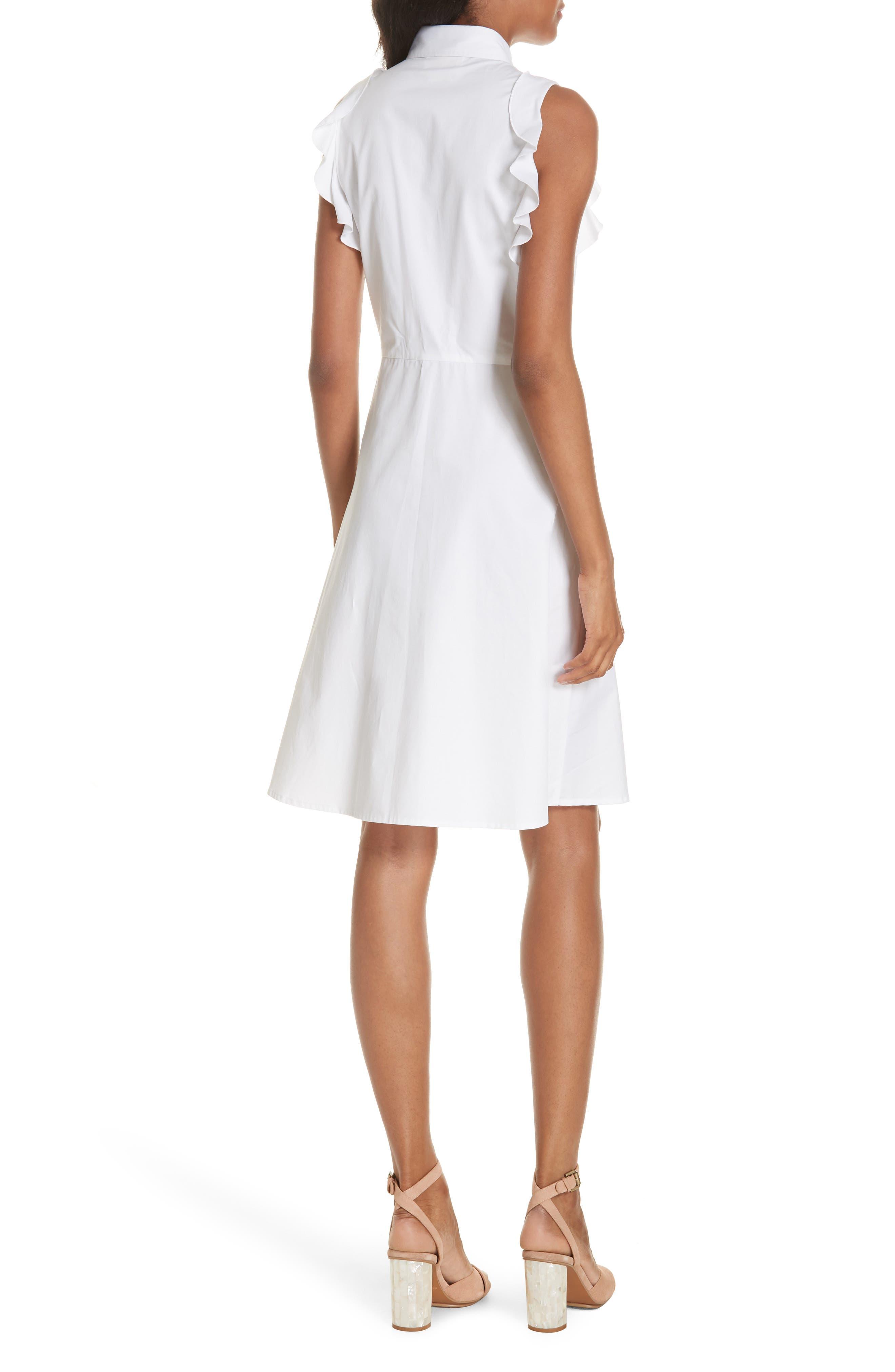 ruffle cotton poplin dress,                             Alternate thumbnail 2, color,                             107