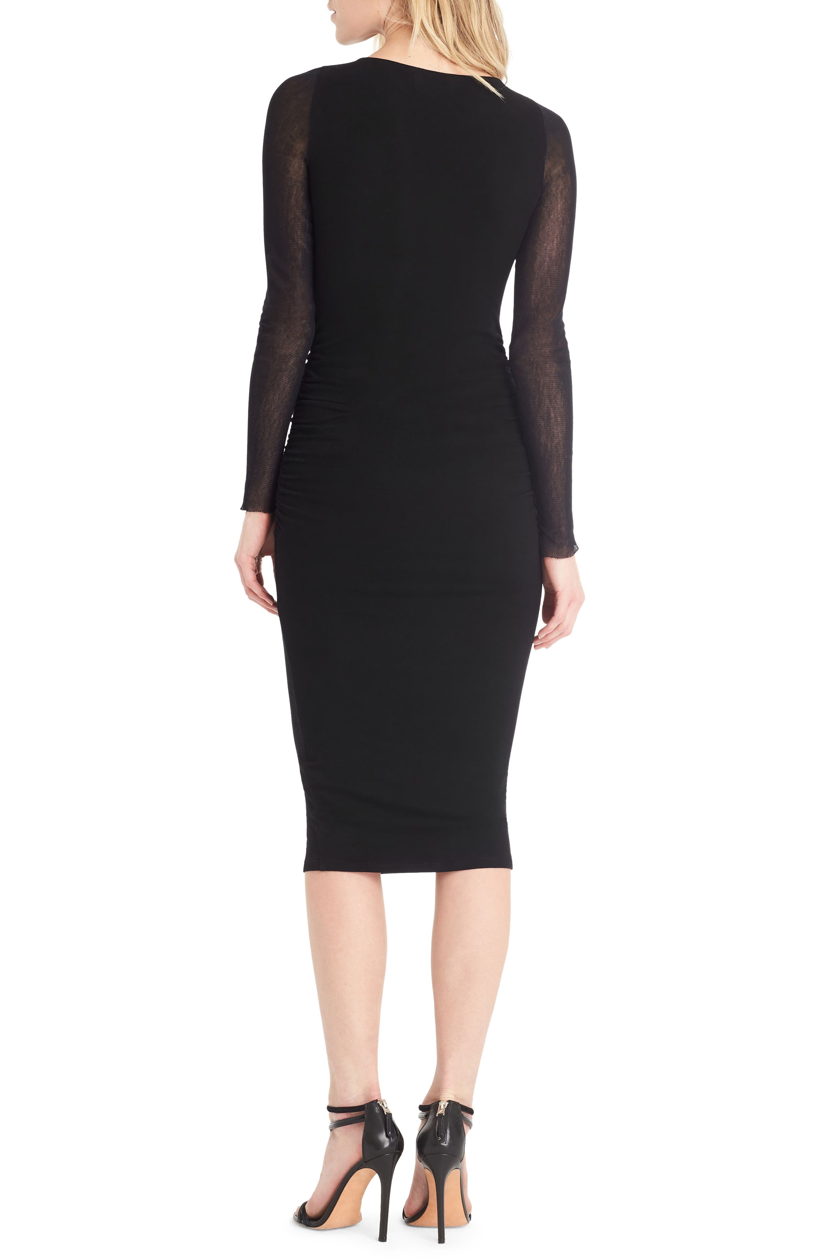 Ruched Mesh Midi Dress,                             Alternate thumbnail 2, color,                             001