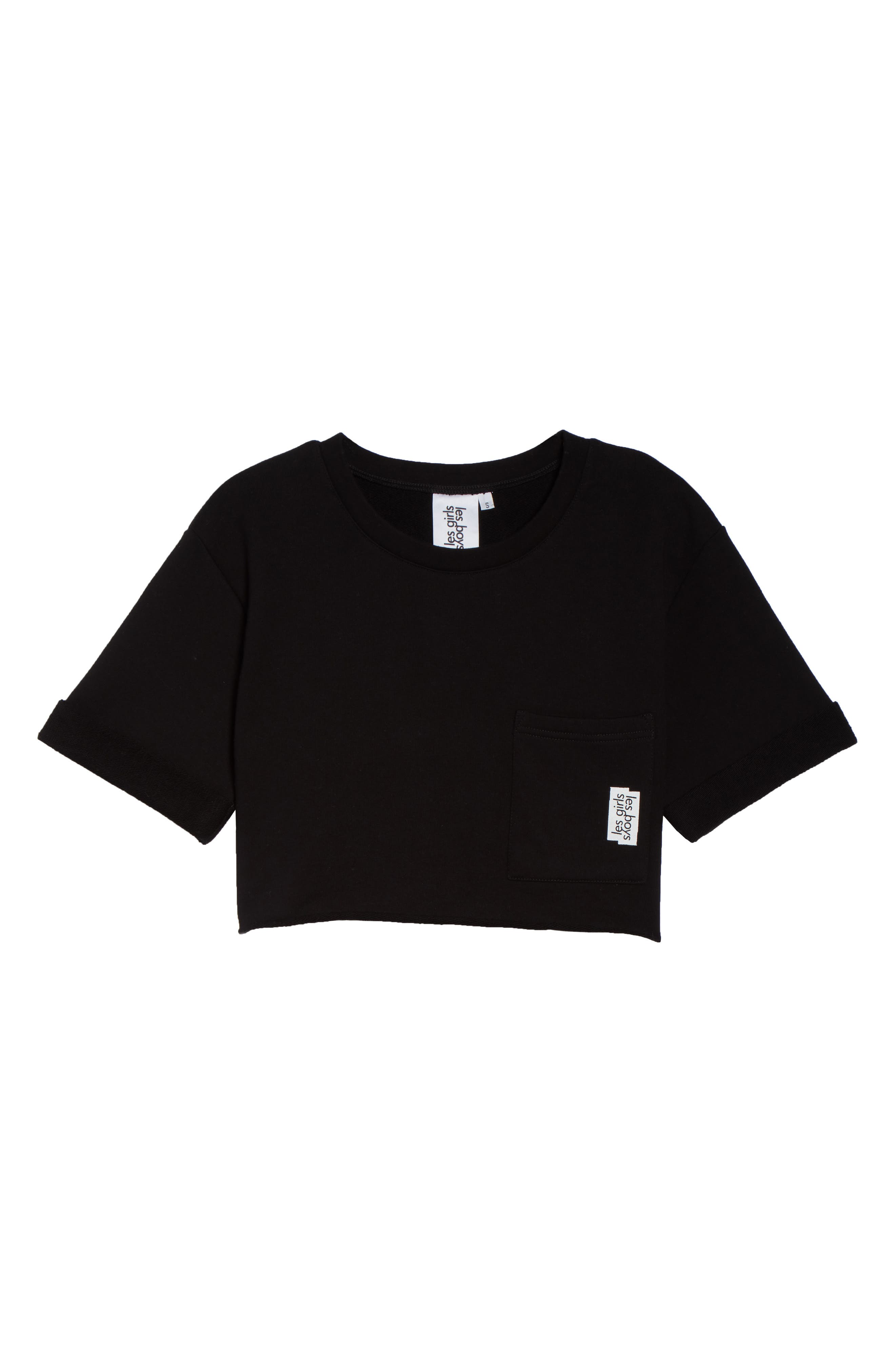 French Terry Crop Sweatshirt,                             Alternate thumbnail 6, color,                             003