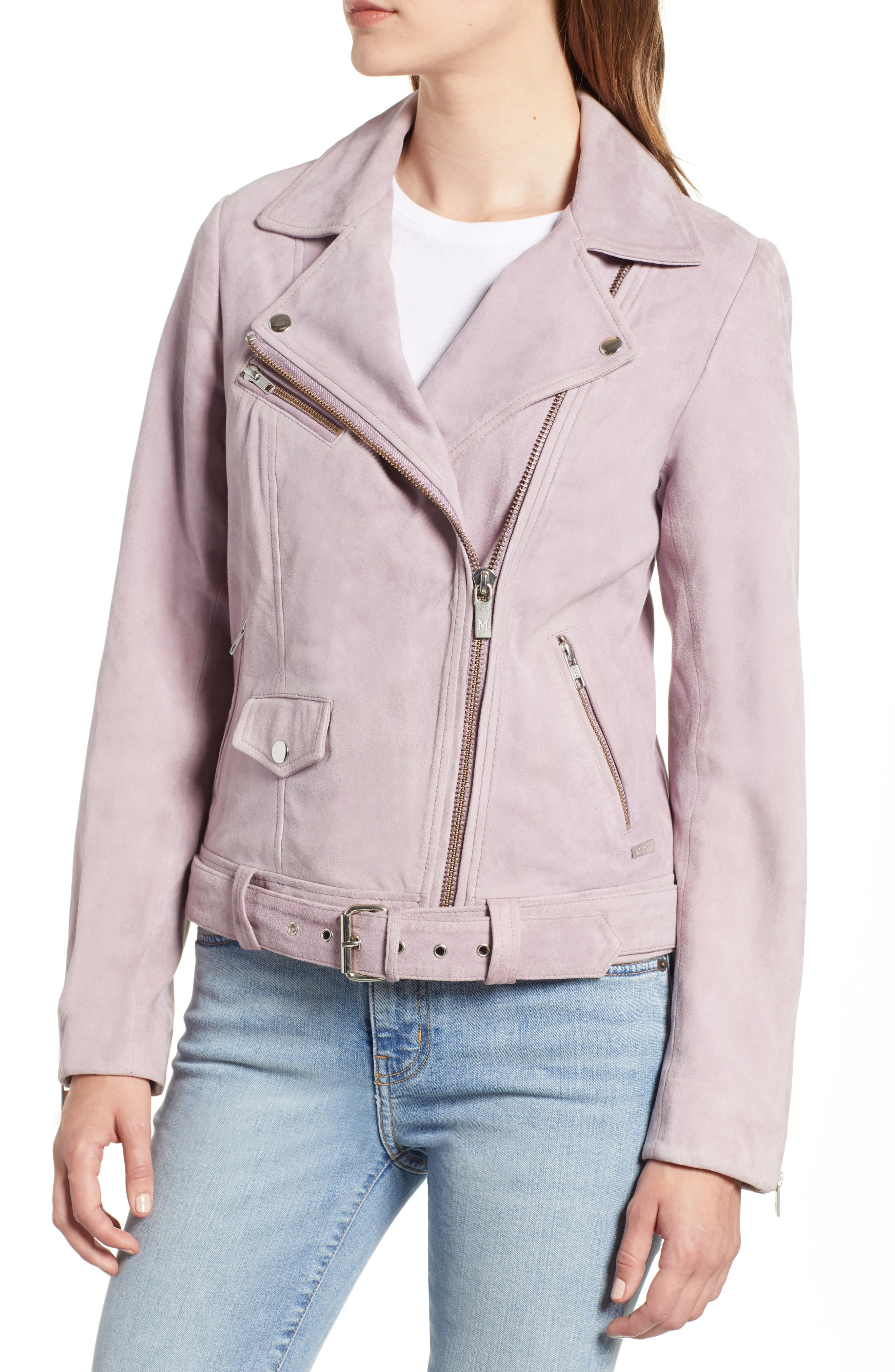 Suede Biker Jacket,                             Alternate thumbnail 4, color,                             500