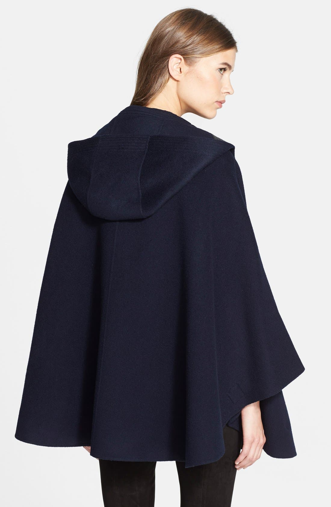 Hooded Wool Blend Cape with Leather Trim,                             Alternate thumbnail 5, color,                             470