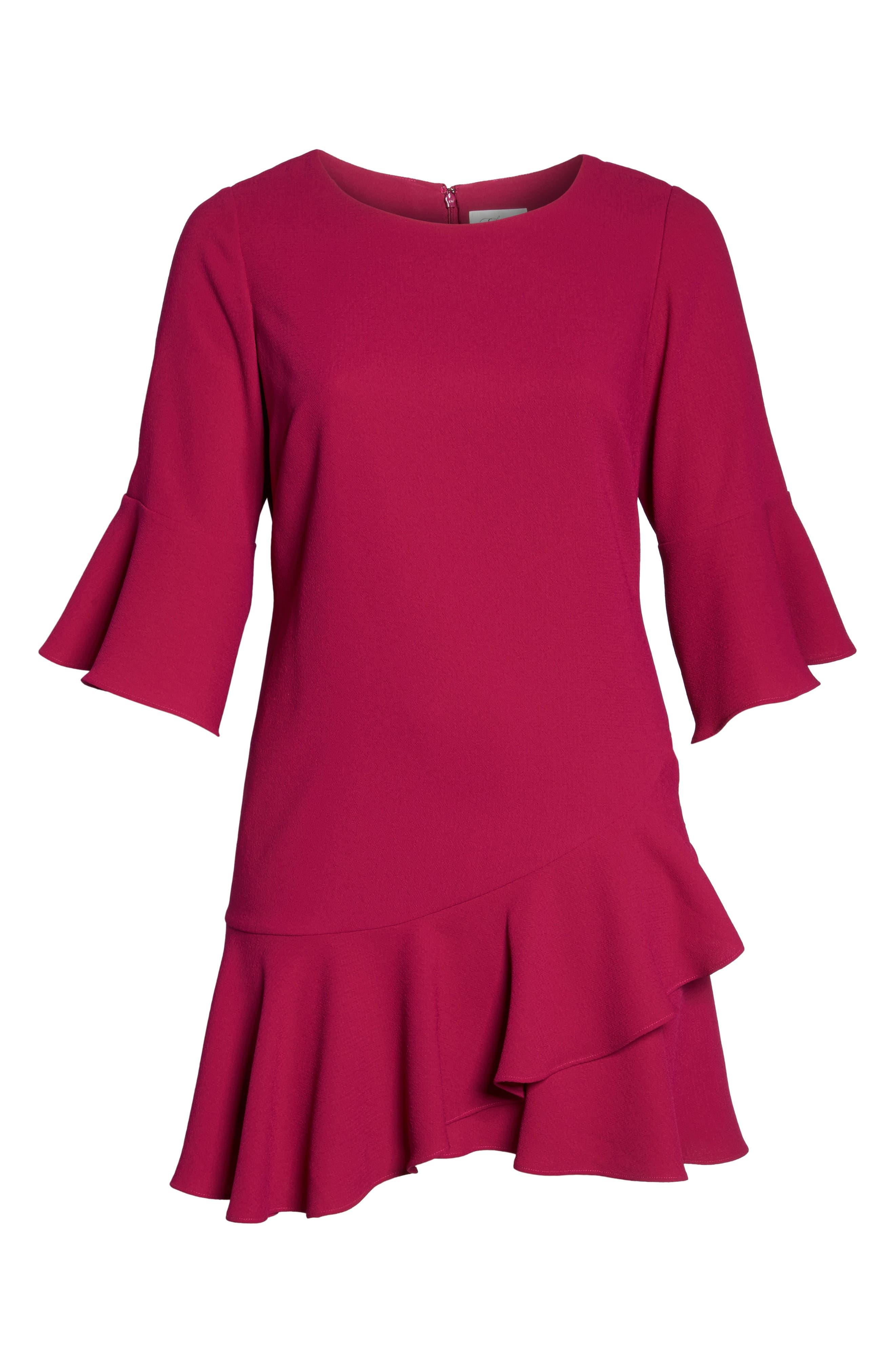 Ruffled Flounce A-Line Dress,                             Alternate thumbnail 6, color,                             678