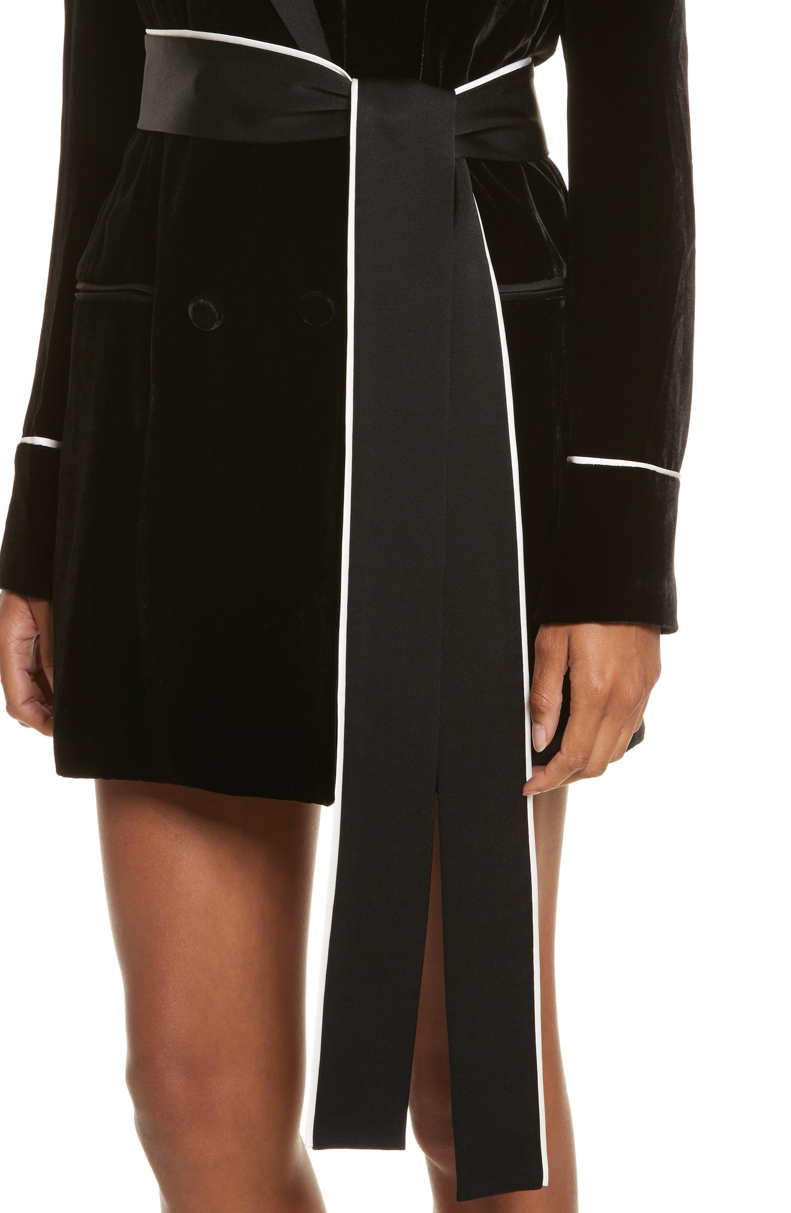 Diane Kruger x GREY Jason Wu Velvet Shirtdress,                             Alternate thumbnail 4, color,                             001