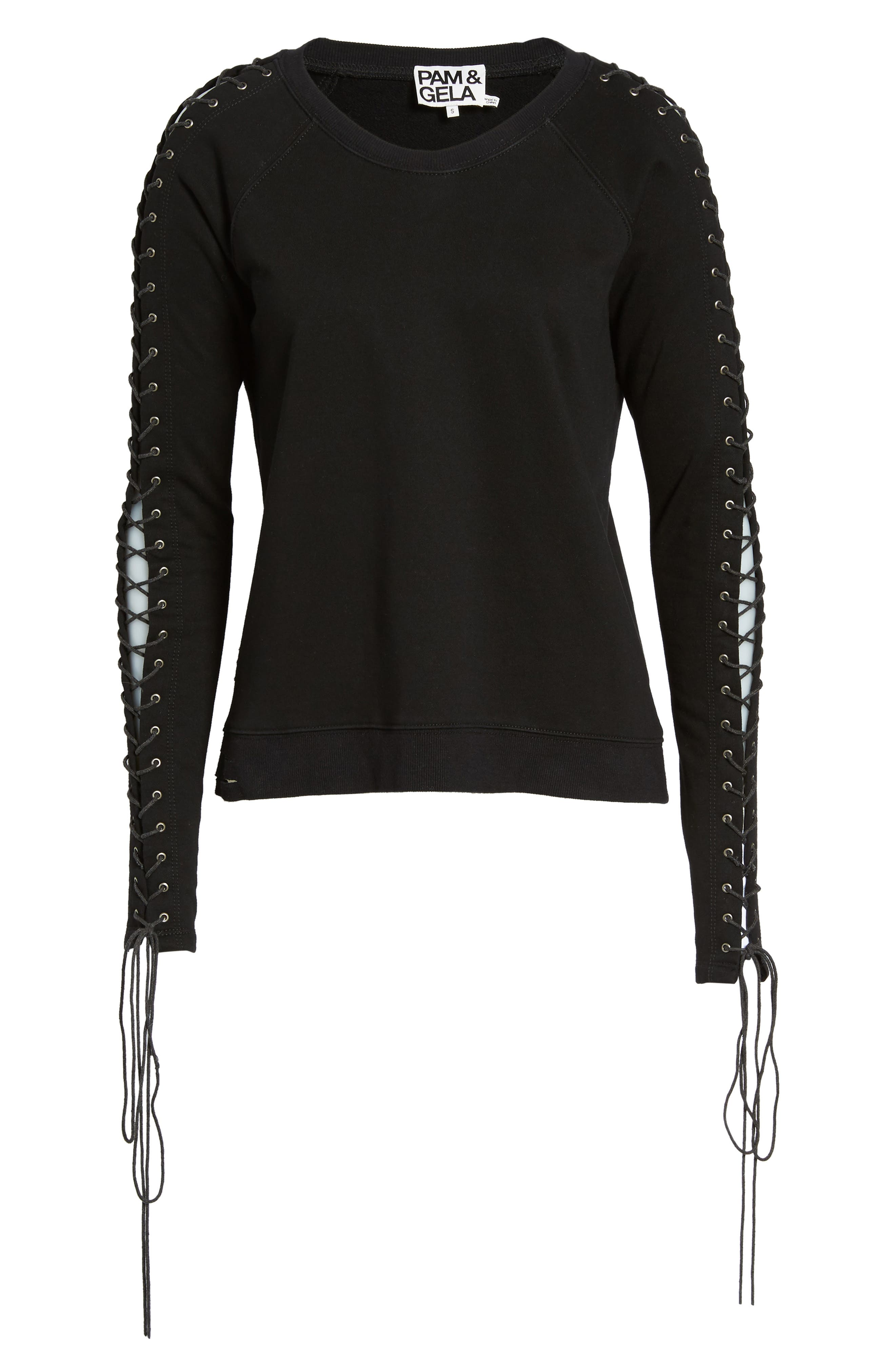 Lace-Up Sleeve Sweatshirt,                             Alternate thumbnail 6, color,                             001