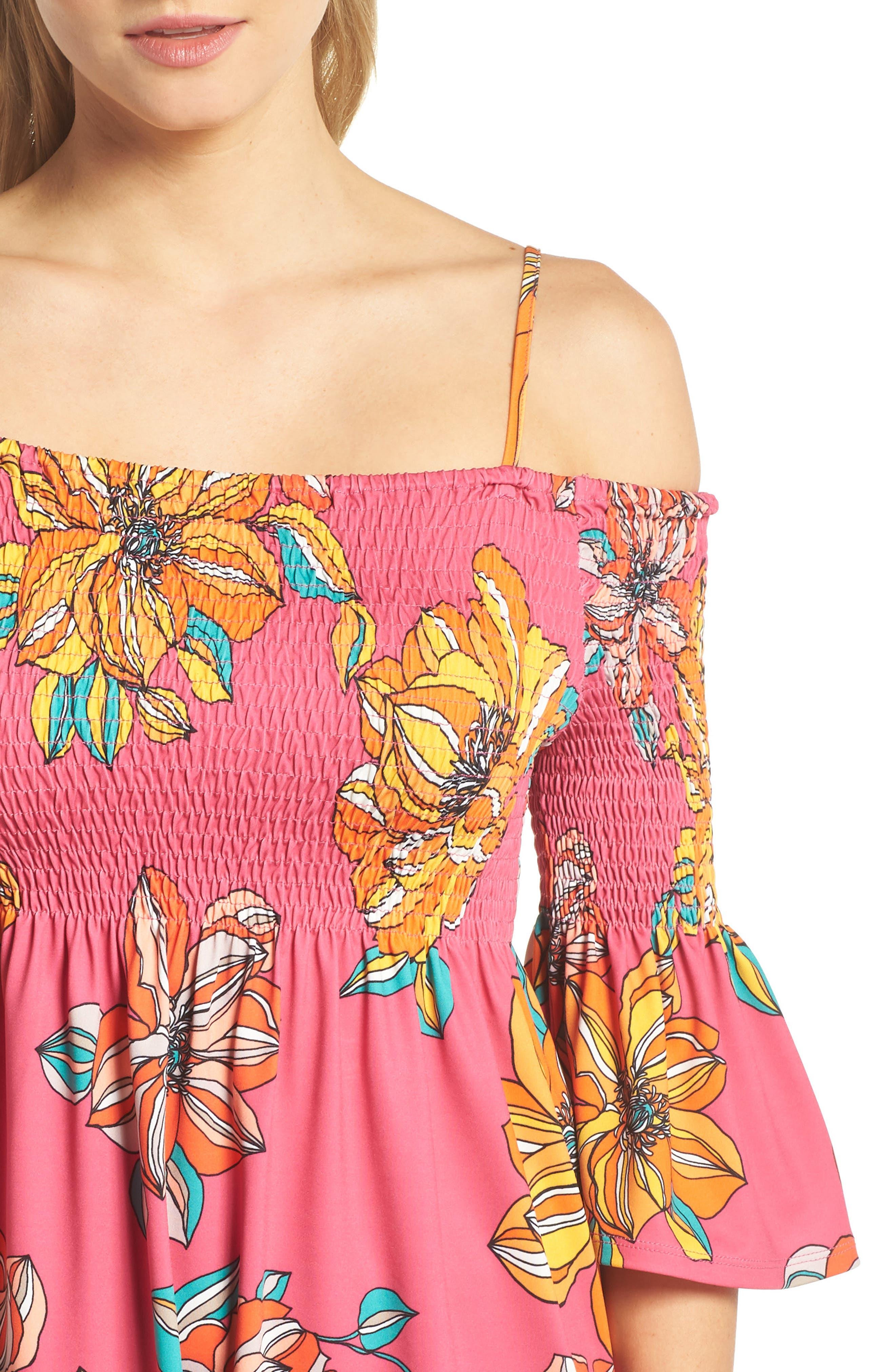 Ventana Cold Shoulder Babydoll Dress,                             Alternate thumbnail 4, color,