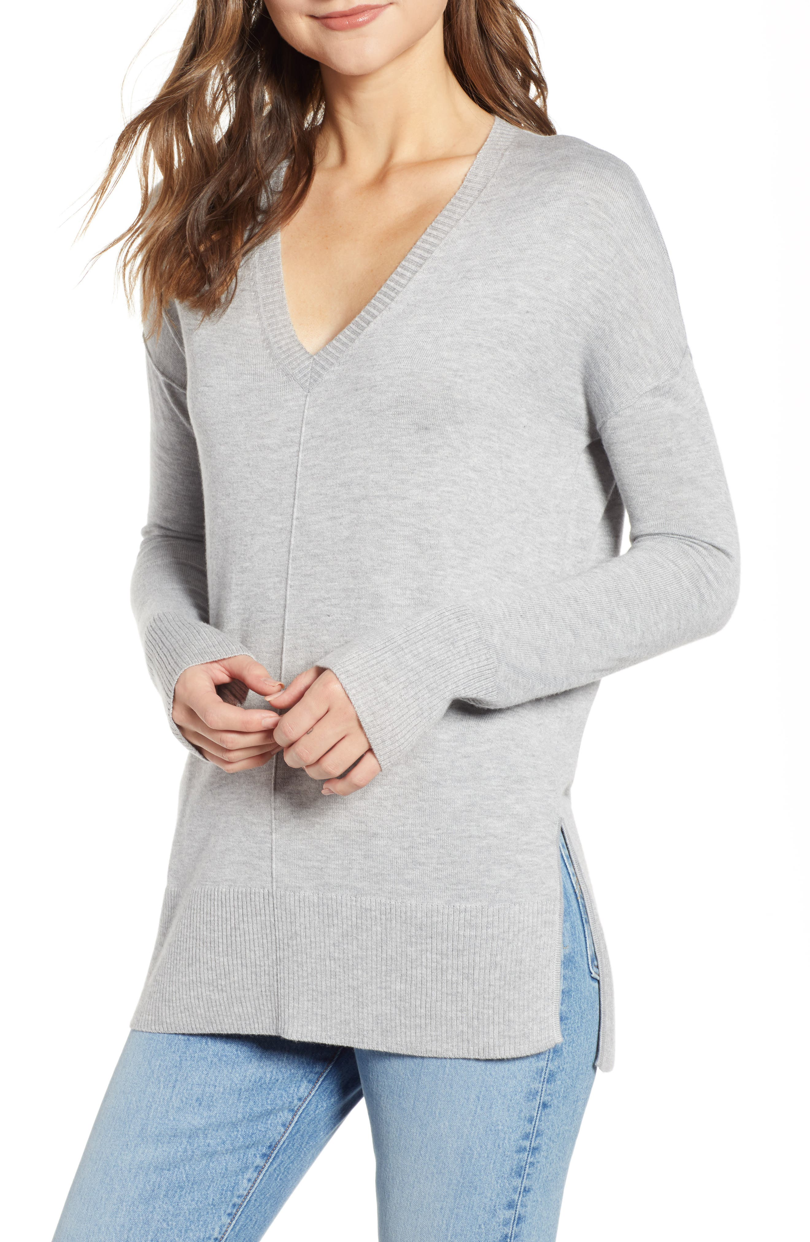 Side Slit Sweater,                         Main,                         color, GREY HEATHER