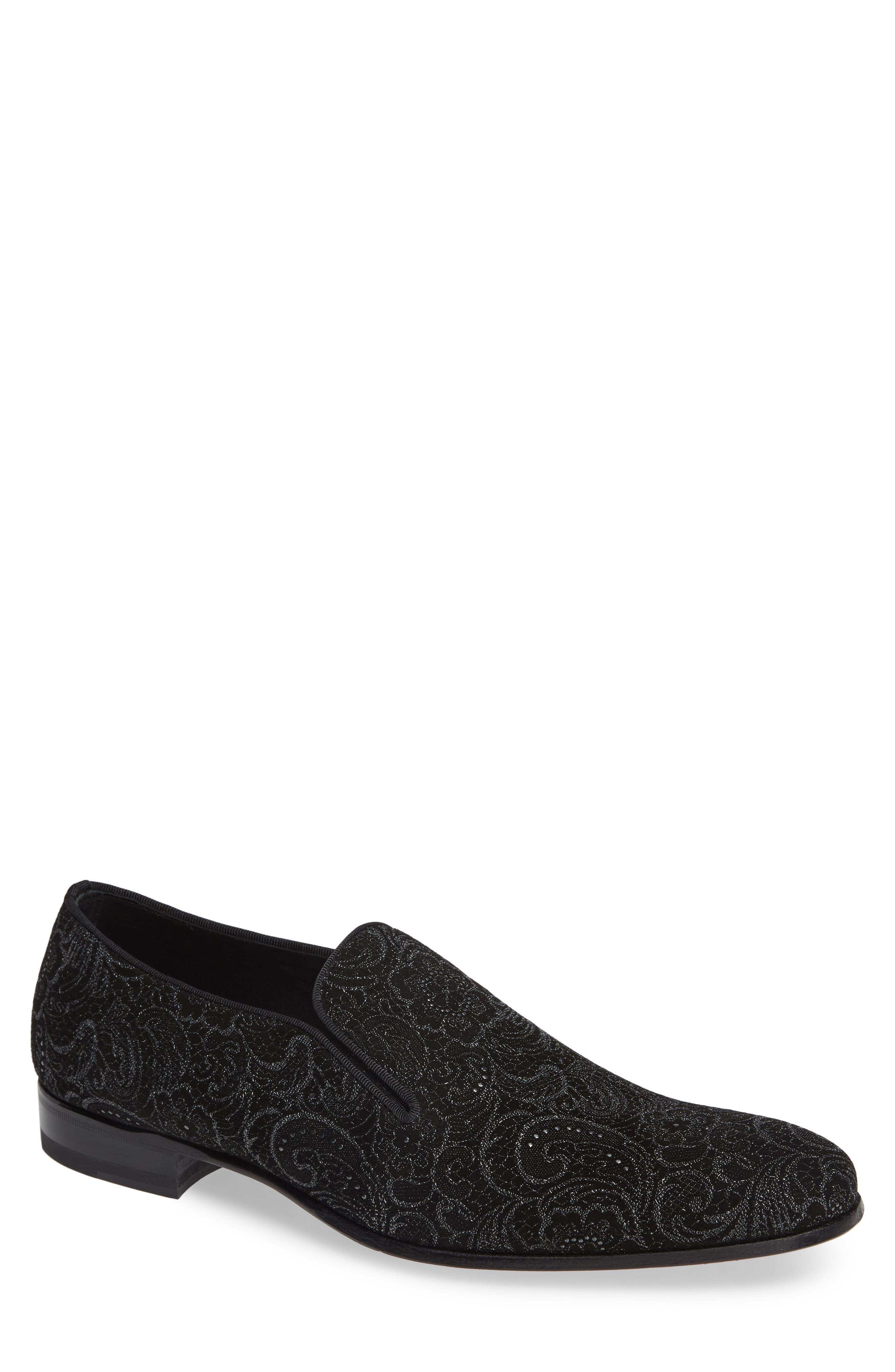 Damon Venetian Loafer,                         Main,                         color, BLACK FABRIC