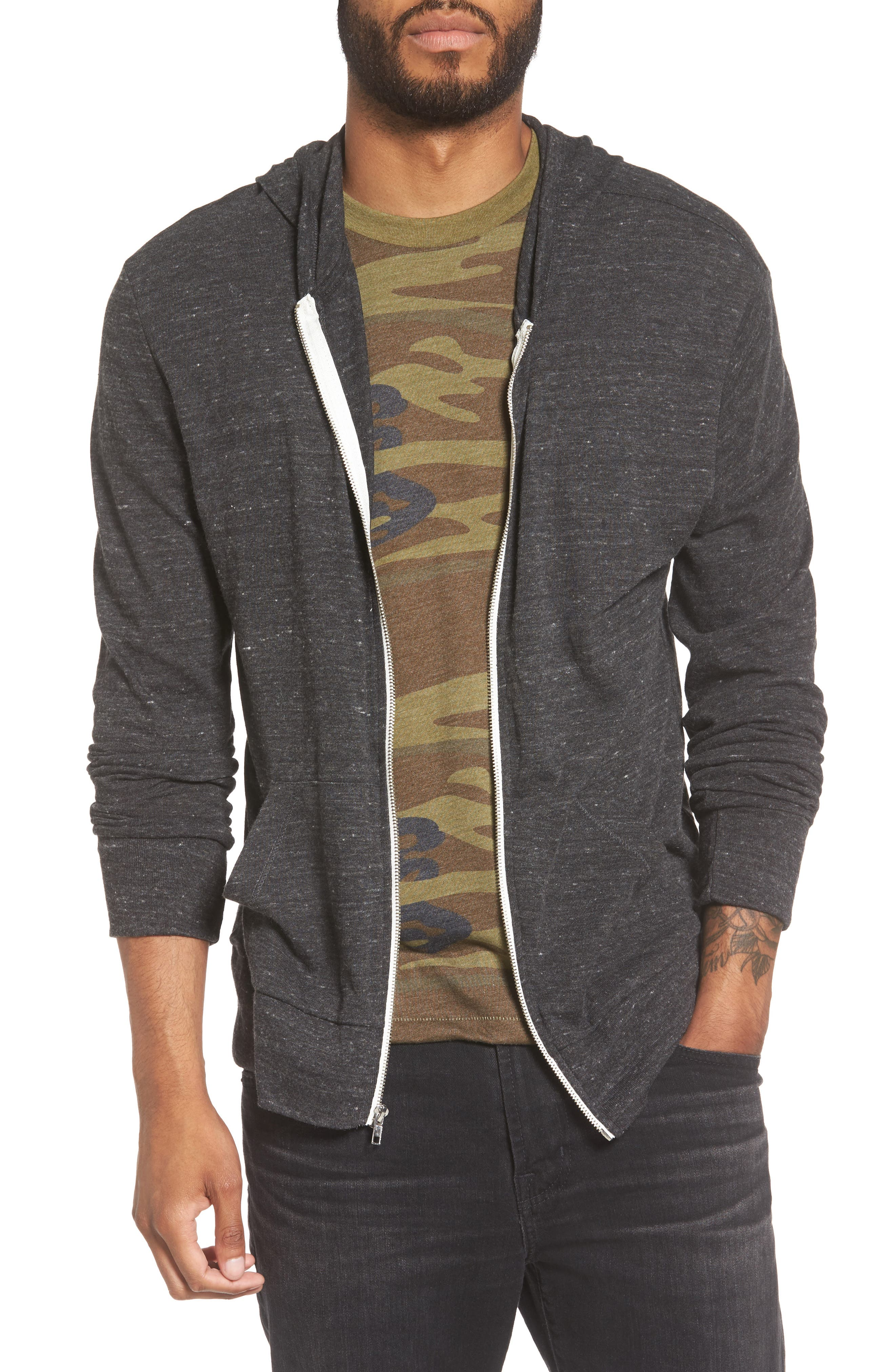 Lightweight Eco-Heather Zip Front Hoodie,                             Main thumbnail 1, color,                             009