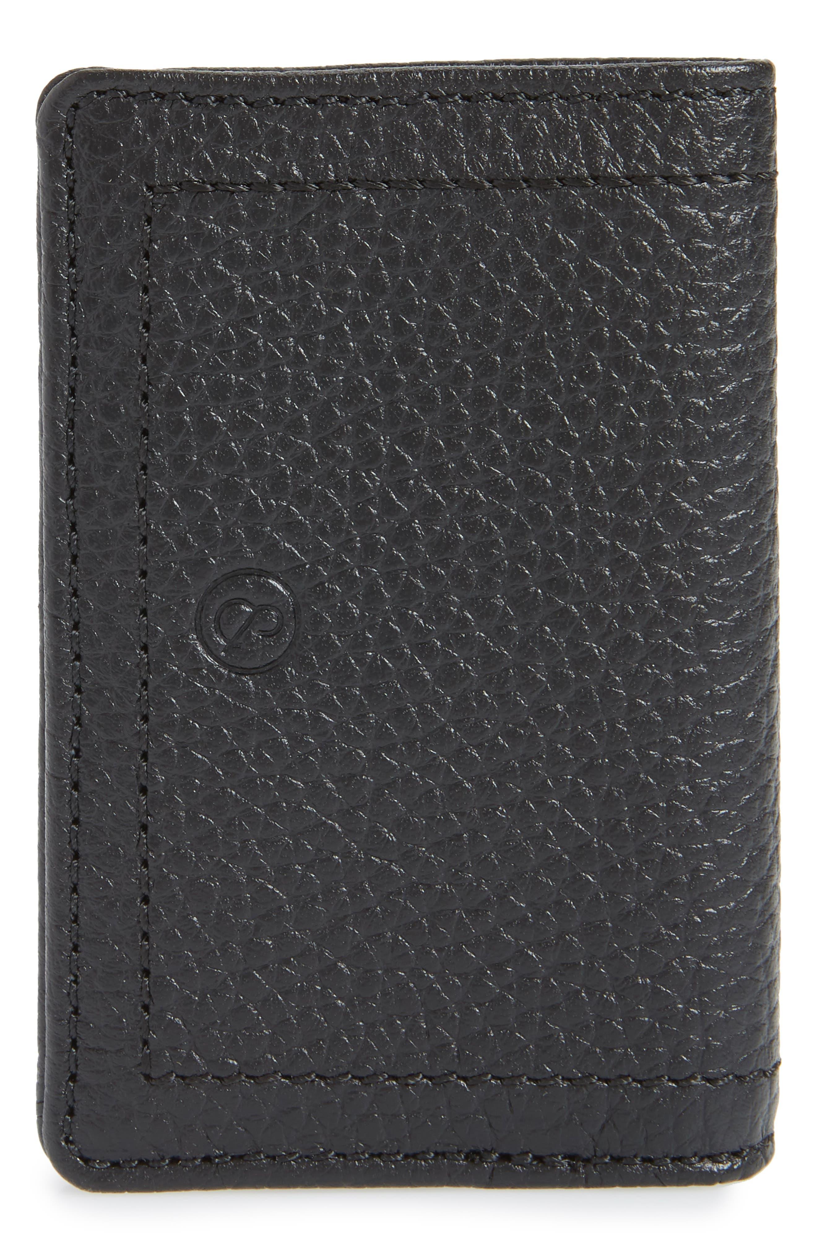 Devon Pebbled Leather Card Case,                             Alternate thumbnail 3, color,                             BLACK