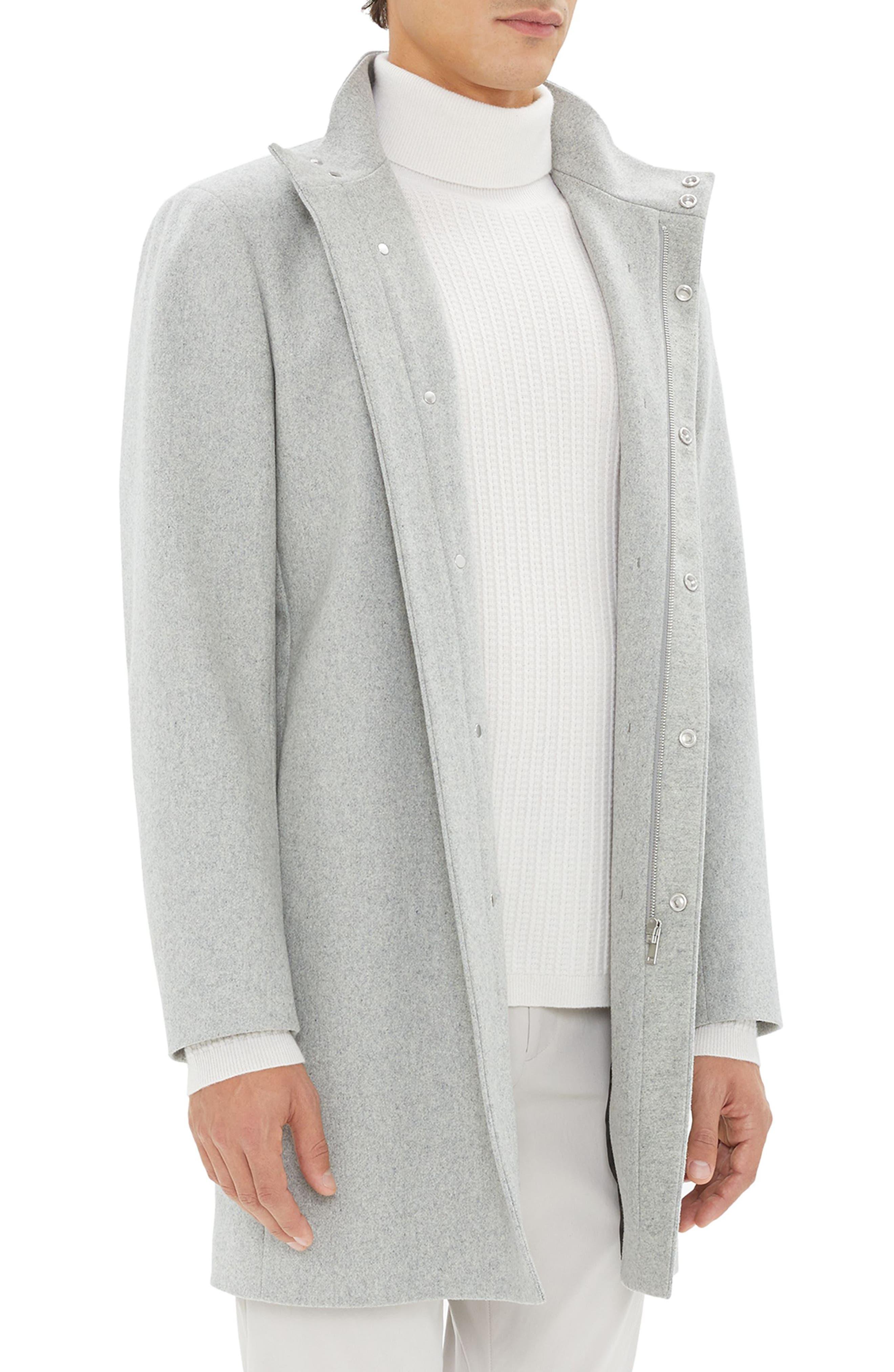 Belvin Modus Melton Wool Blend Coat,                             Alternate thumbnail 3, color,                             GREY MELANGE