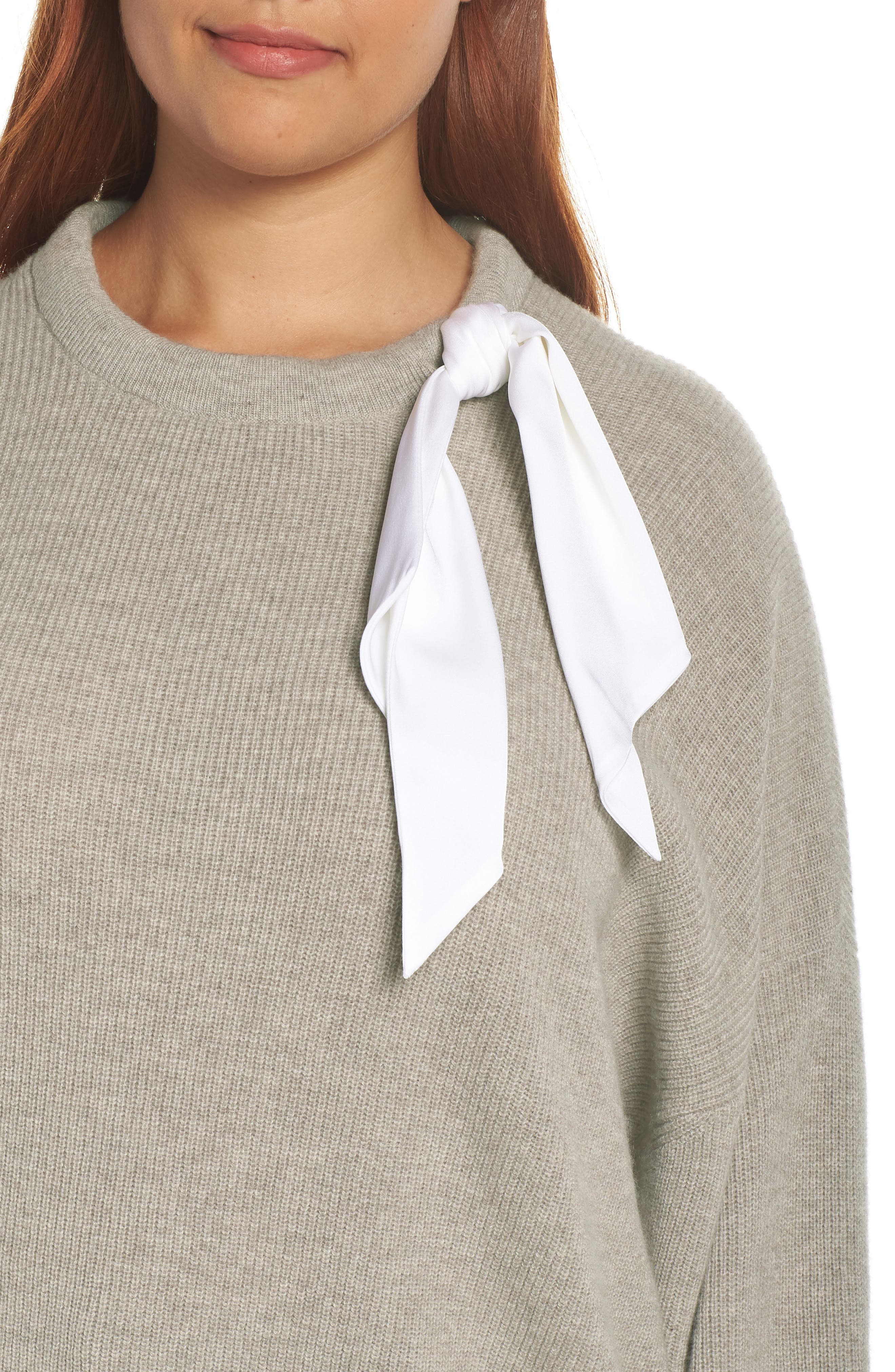 Silk Scarf Detail Wool & Cashmere Sweater,                             Alternate thumbnail 10, color,                             TAUPE