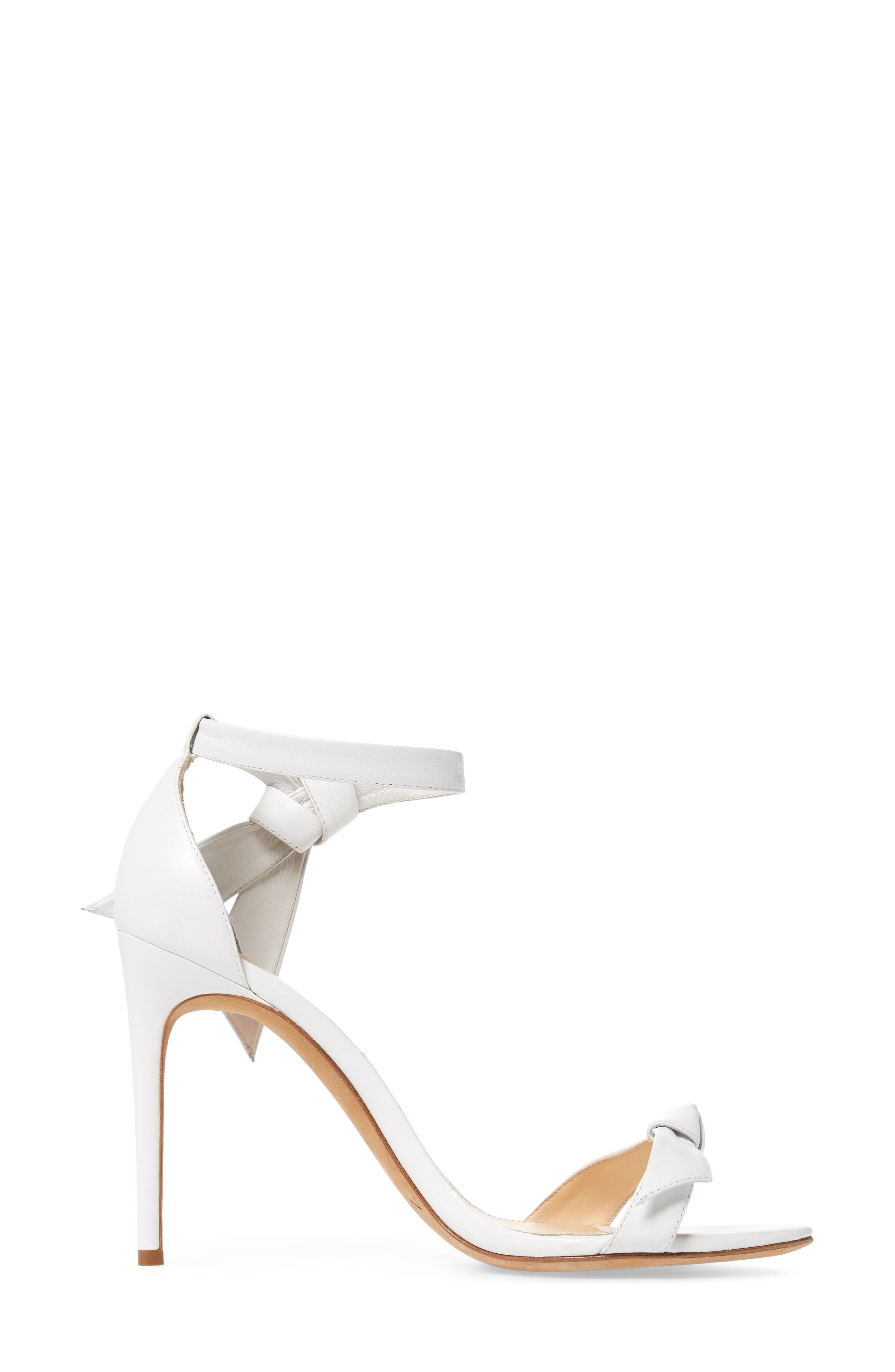 'Clarita' Ankle Tie Sandal,                             Alternate thumbnail 3, color,                             WHITE LEATHER