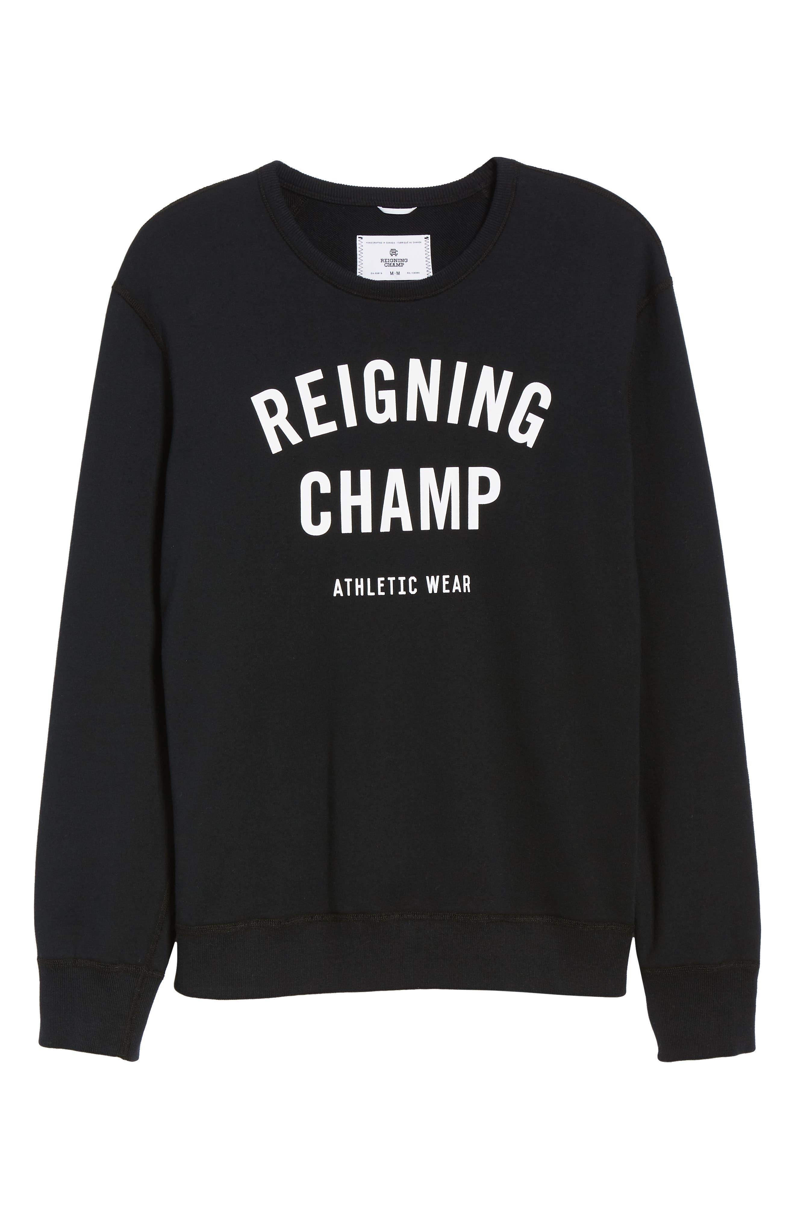 Gym Logo Sweatshirt,                             Alternate thumbnail 6, color,                             BLACK/ WHITE