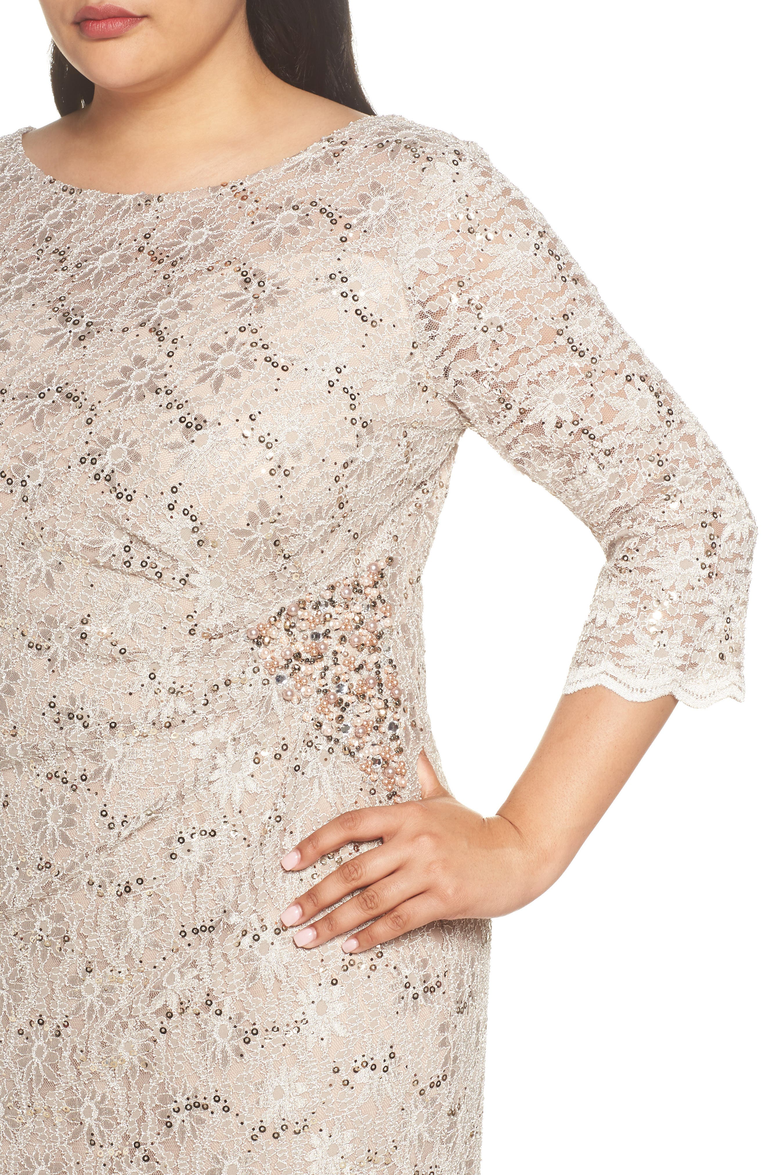 Embellished Illusion Lace Shift Dress,                             Alternate thumbnail 4, color,                             250