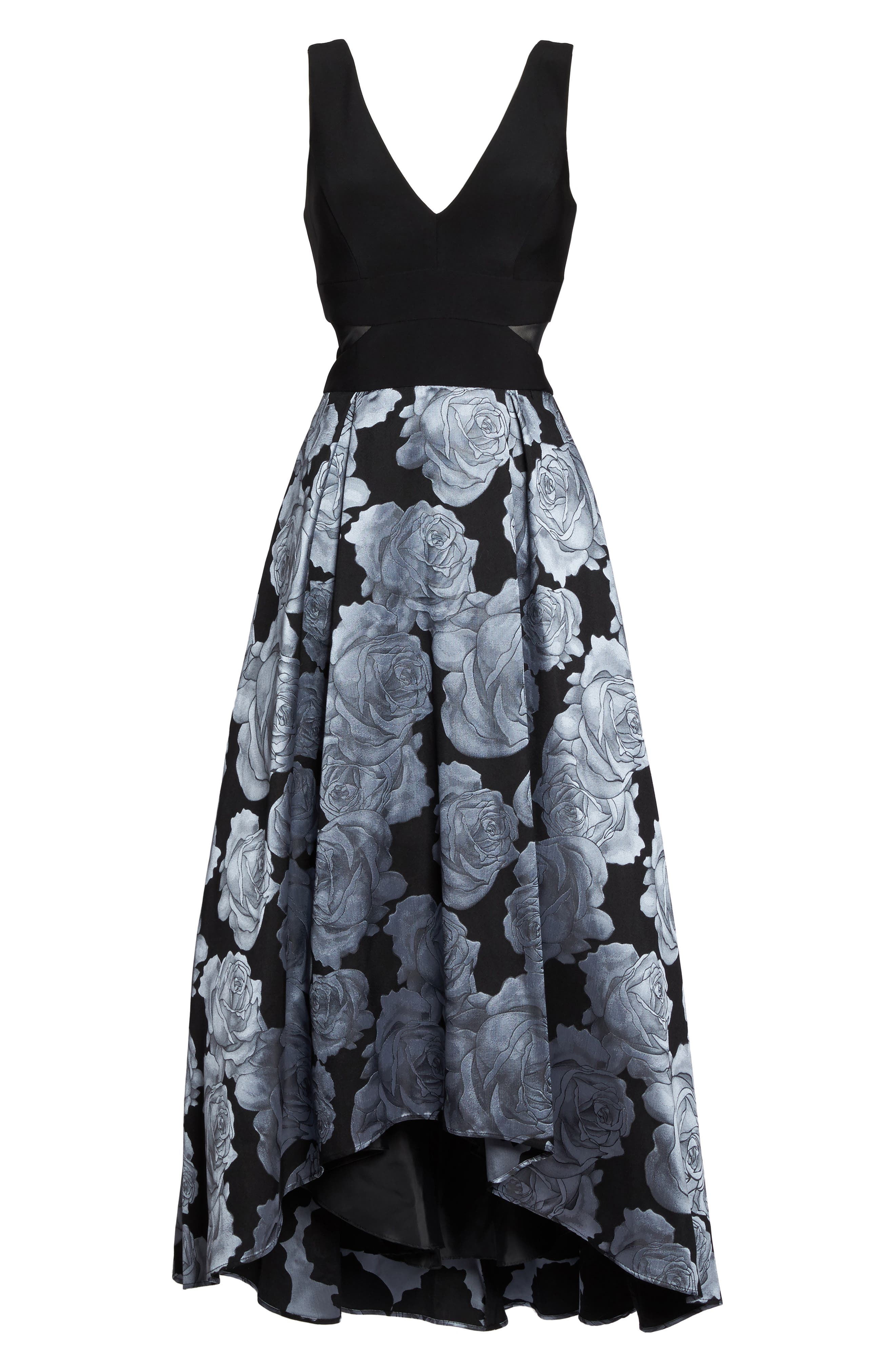 Jersey & Brocade High/Low Gown,                             Alternate thumbnail 6, color,                             015