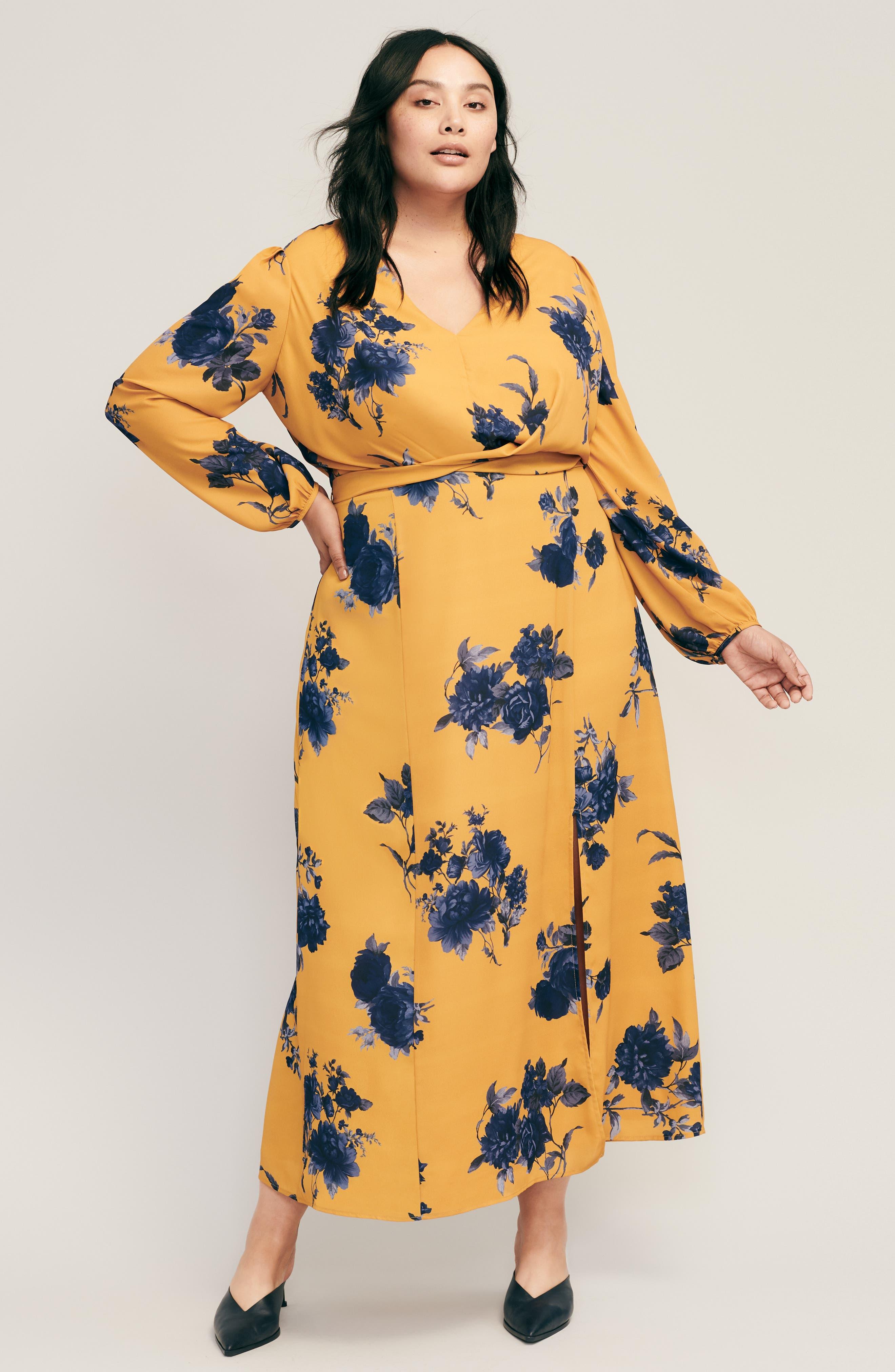 CHELSEA28,                             Floral Print Faux Wrap Maxi Dress,                             Alternate thumbnail 8, color,                             YELLOW NAVY
