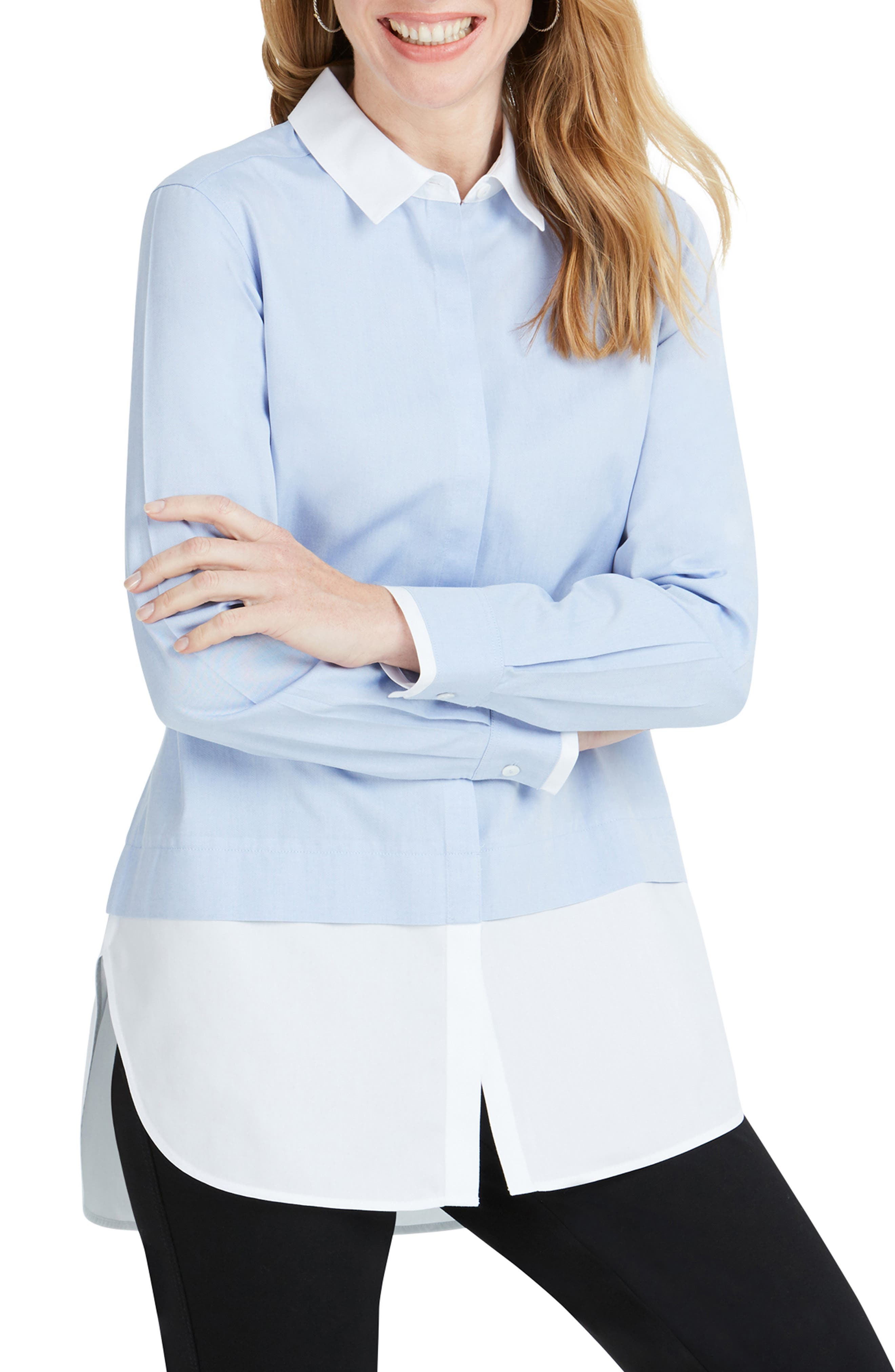 FOXCROFT Giselle Color-Block Button-Down Tunic in Blue Wave