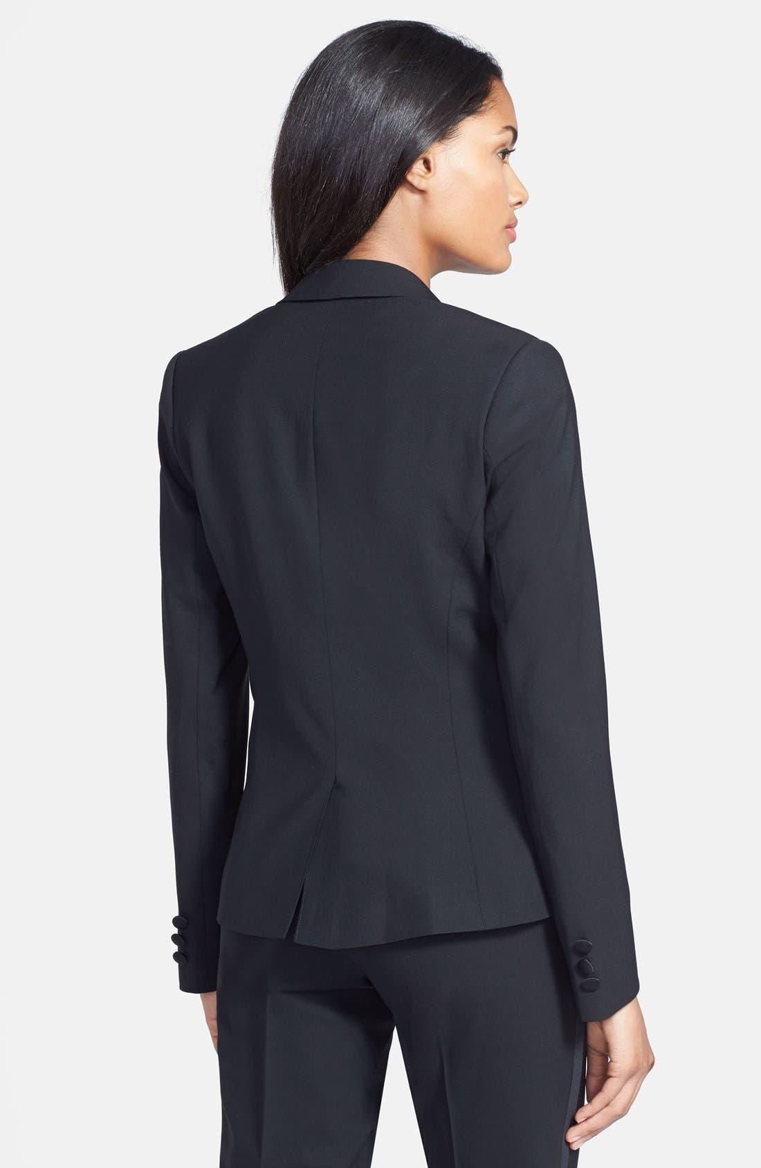 Stretch Wool Tuxedo Jacket,                             Alternate thumbnail 4, color,                             BLACK