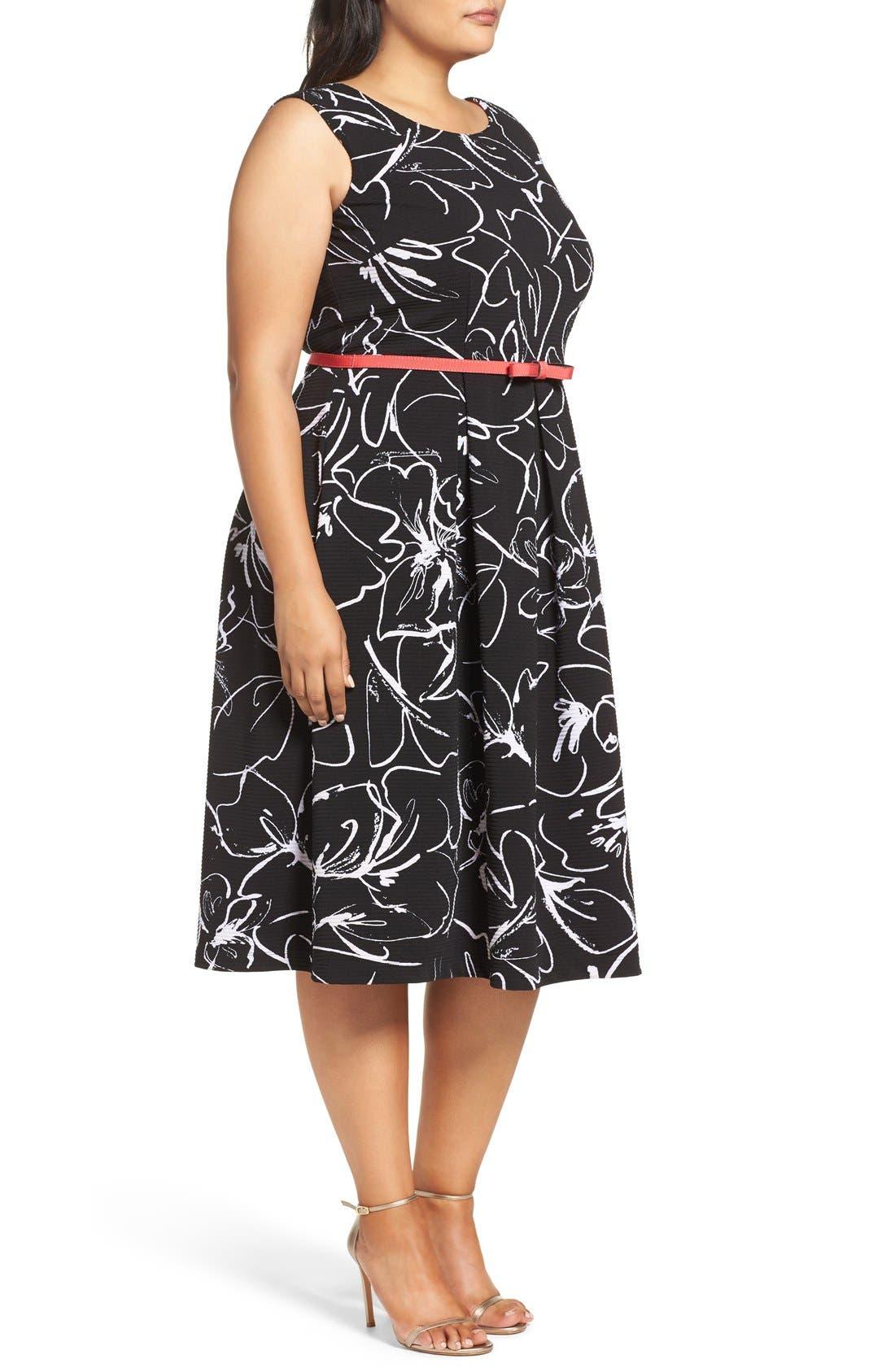 Print Fit & Flare Dress,                             Alternate thumbnail 15, color,