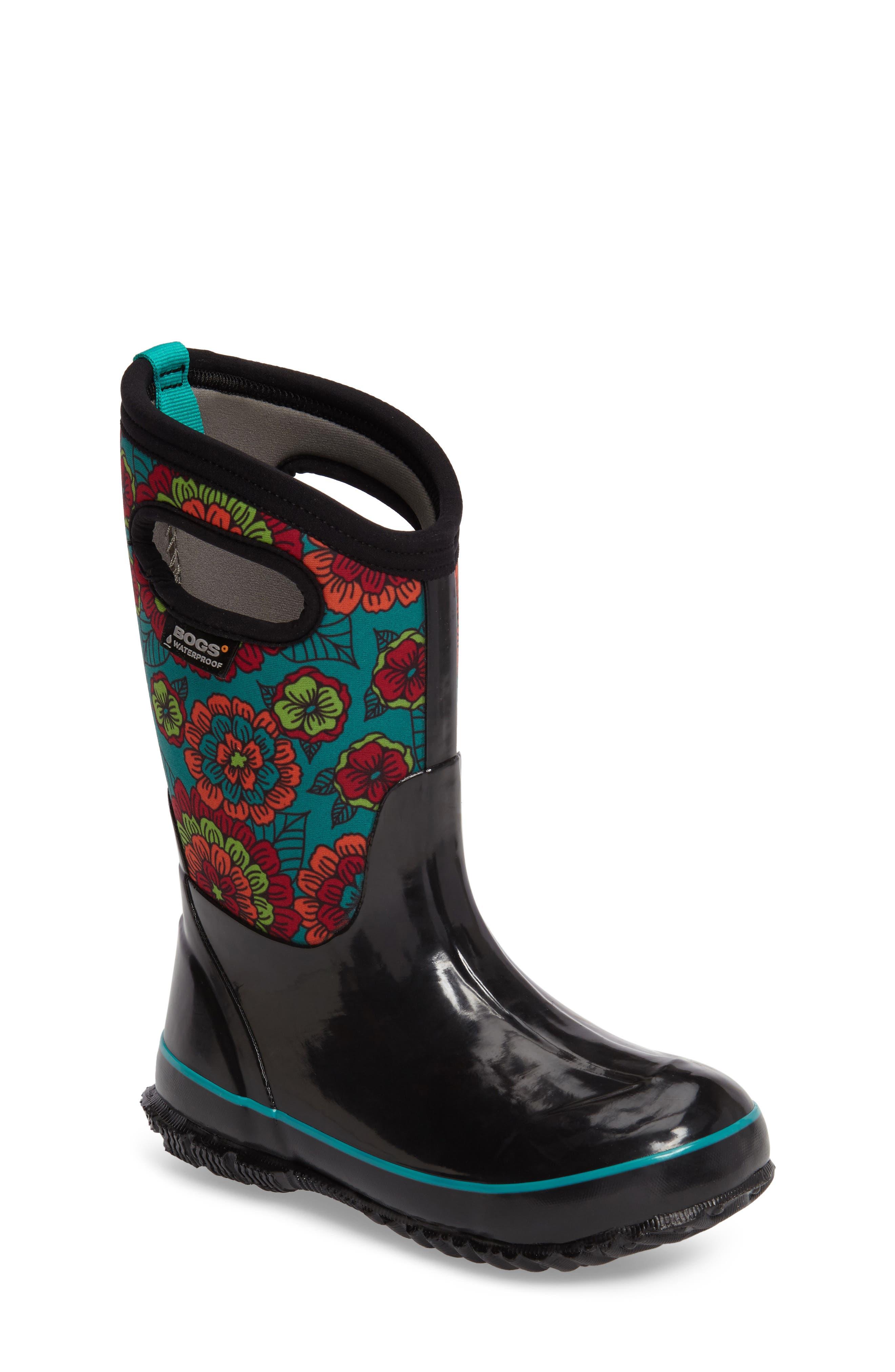 Classic Pansies Insulated Waterproof Rain Boot,                             Main thumbnail 1, color,                             BLACK MULTI