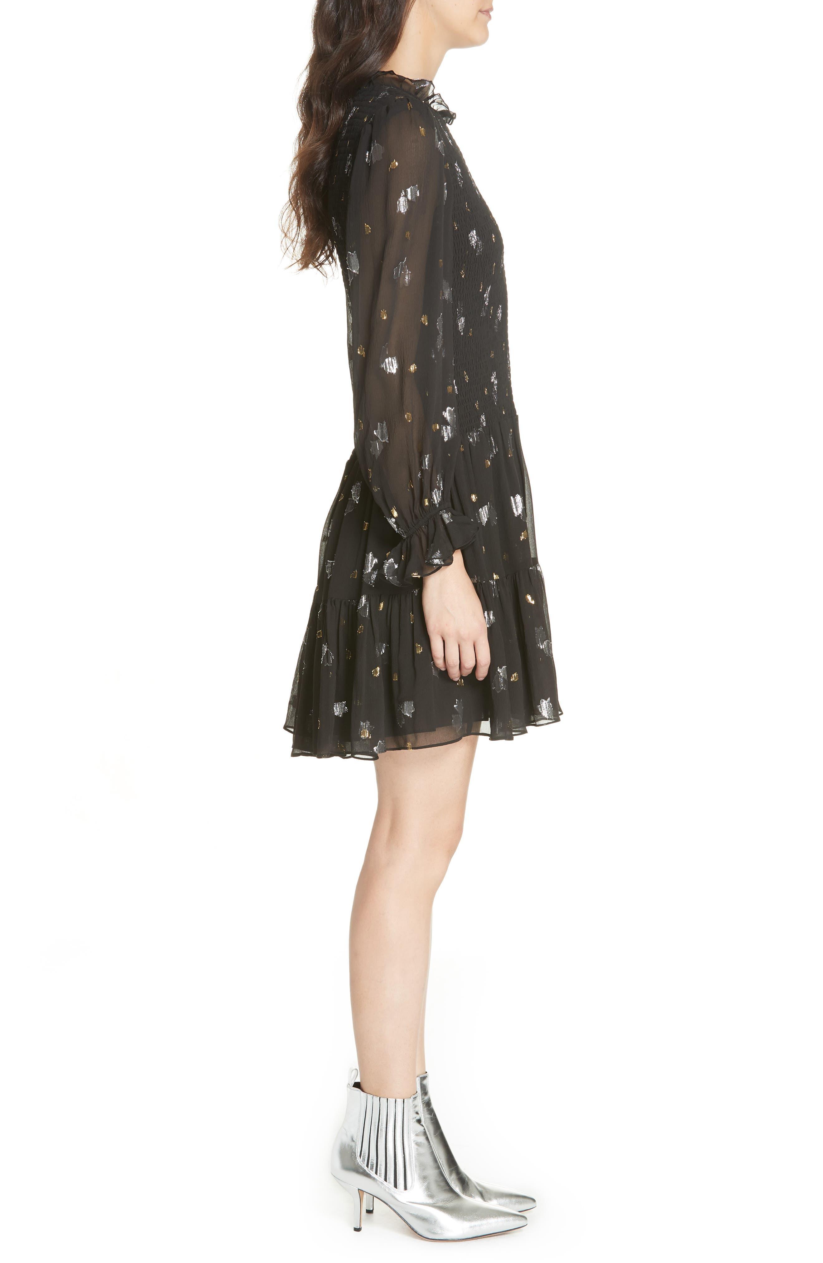Scattered Metallic Tulip Silk Blend Dress,                             Alternate thumbnail 3, color,                             001