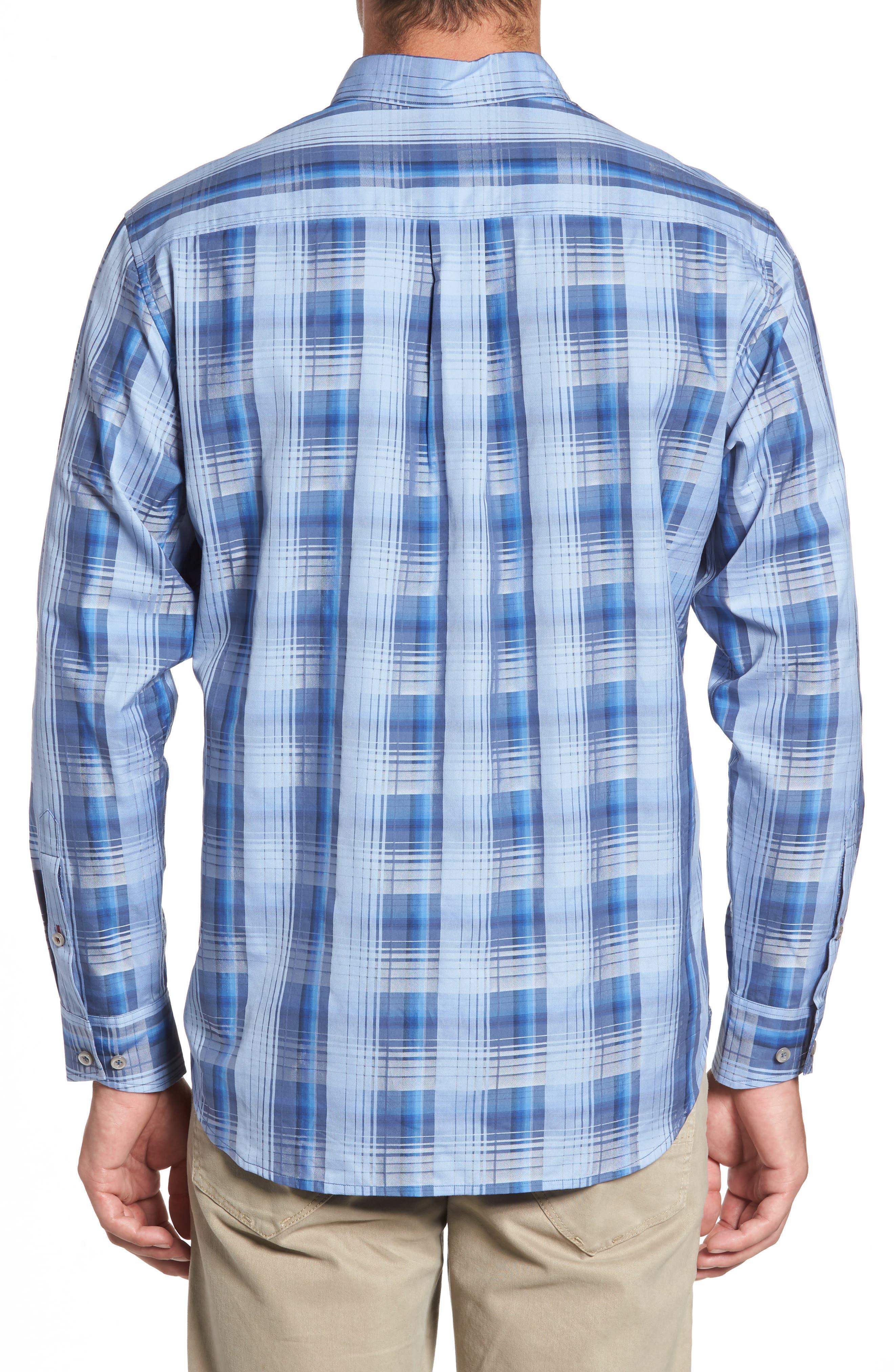 Shadow Ridge Check Cotton & Silk Sport Shirt,                             Alternate thumbnail 2, color,