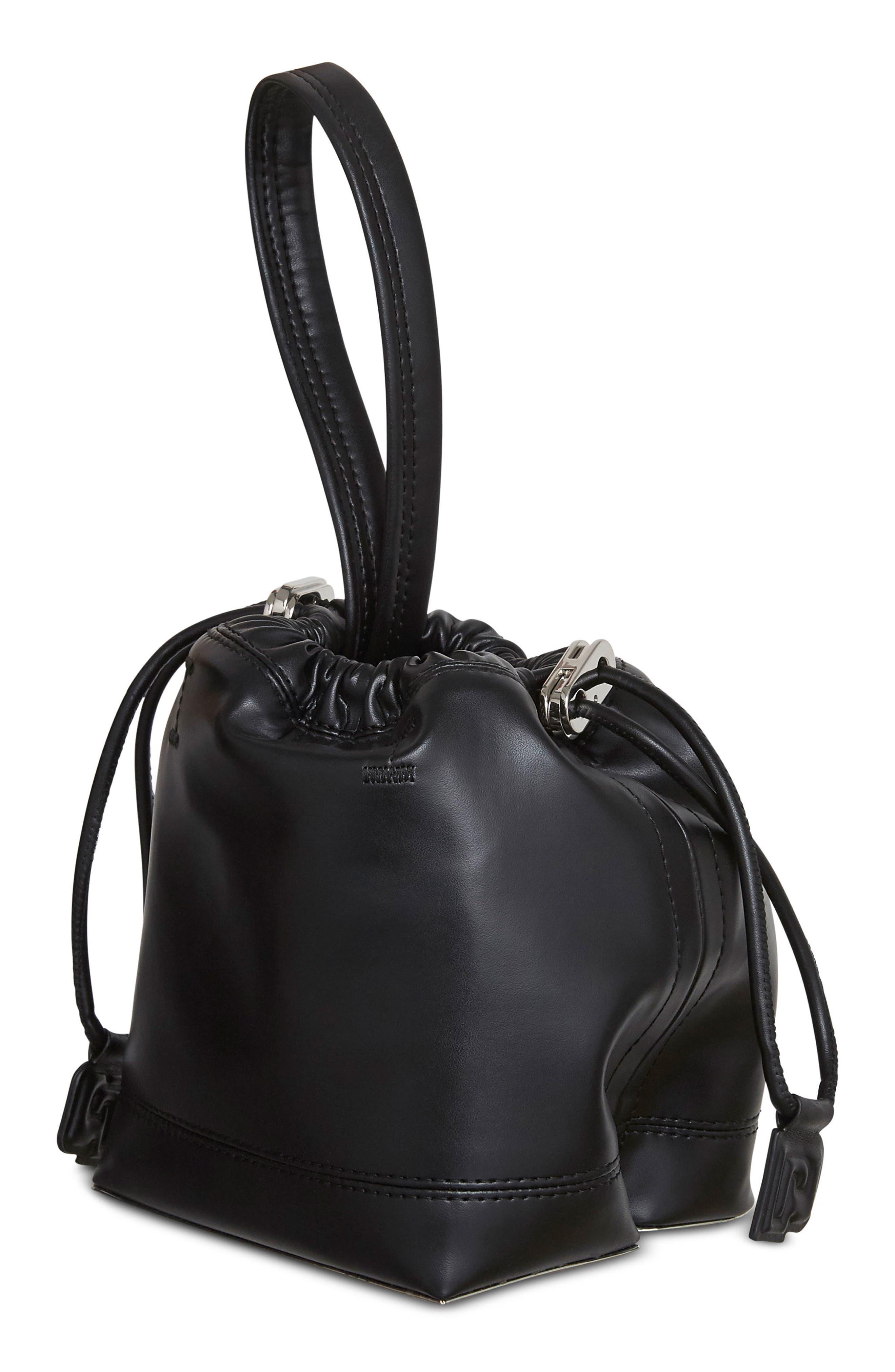 Mini Pouch Faux Leather Tote,                         Main,                         color, BLACK