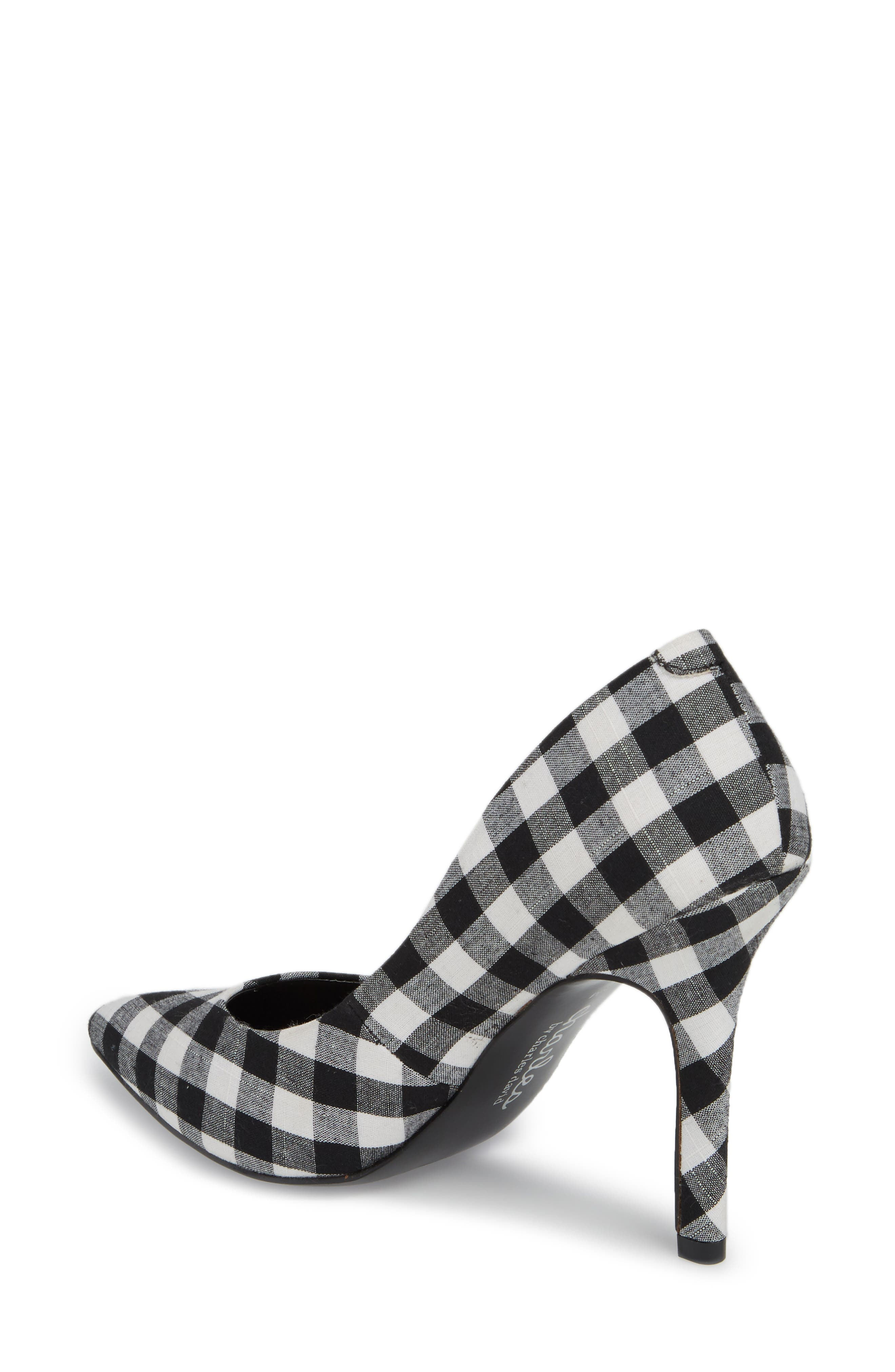 Maxx Pointy Toe Pump,                             Alternate thumbnail 2, color,                             BLACK/ WHITE GINGHAM FABRIC