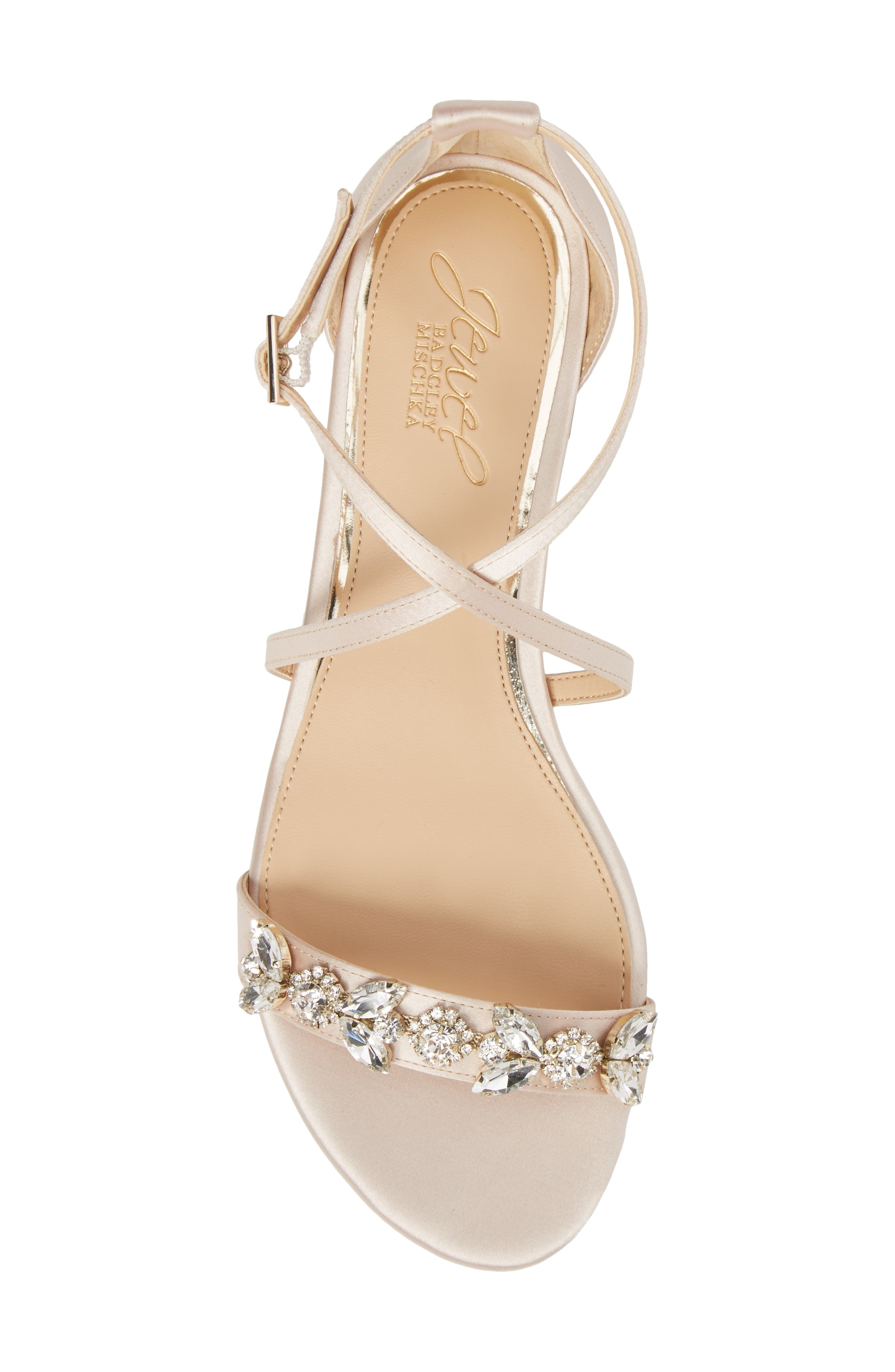 Tessy Embellished Sandal,                             Alternate thumbnail 5, color,                             CHAMPAGNE SATIN