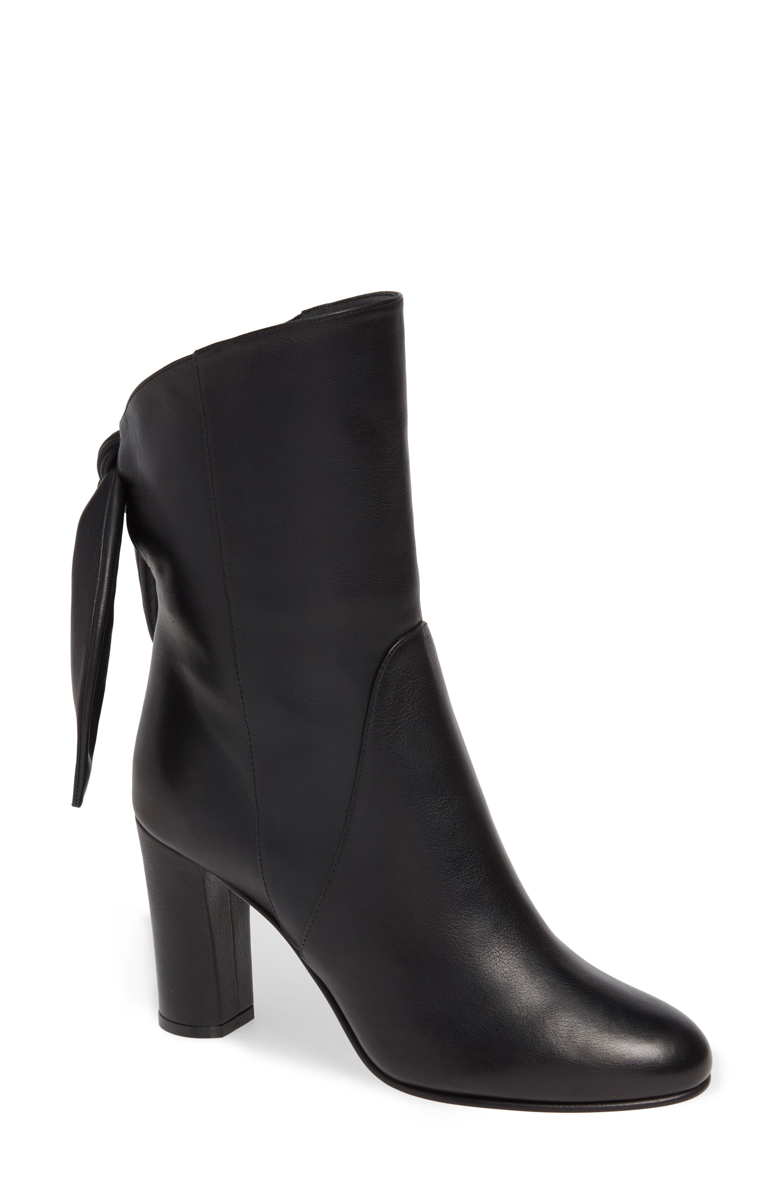 JIMMY CHOO Malene Bow Boot, Main, color, BLACK LEATHER