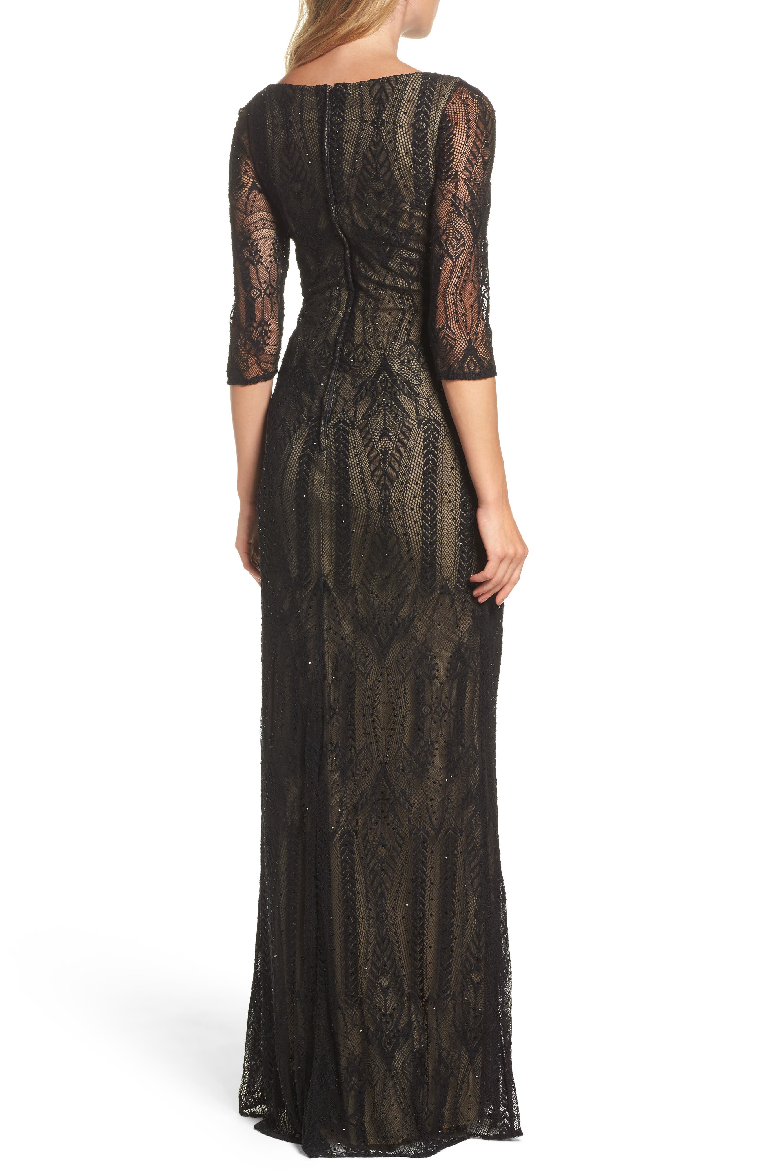 Crystal Lace Column Gown,                             Alternate thumbnail 2, color,                             BLACK
