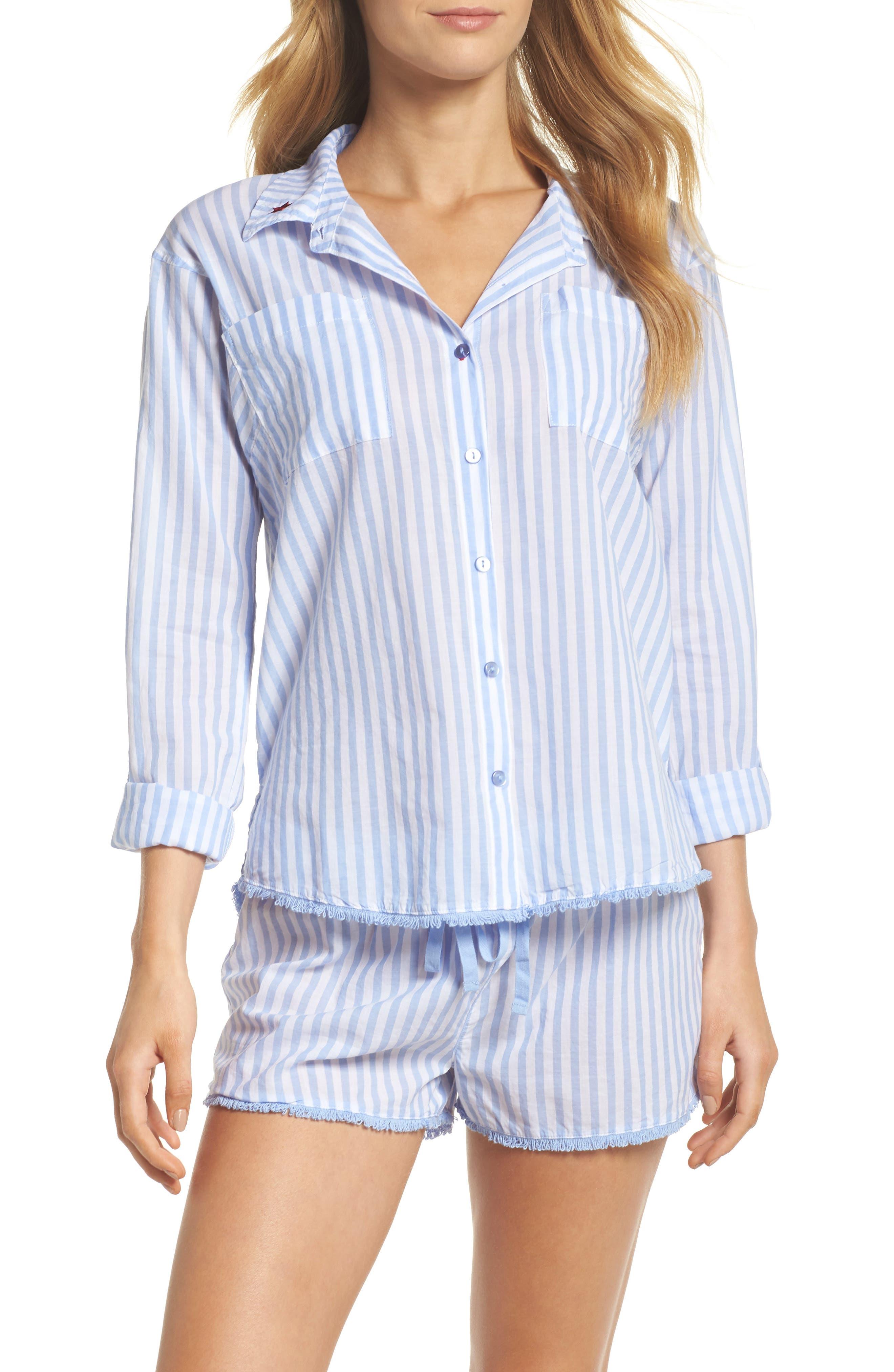 Stripe Short Pajamas,                             Main thumbnail 1, color,                             100