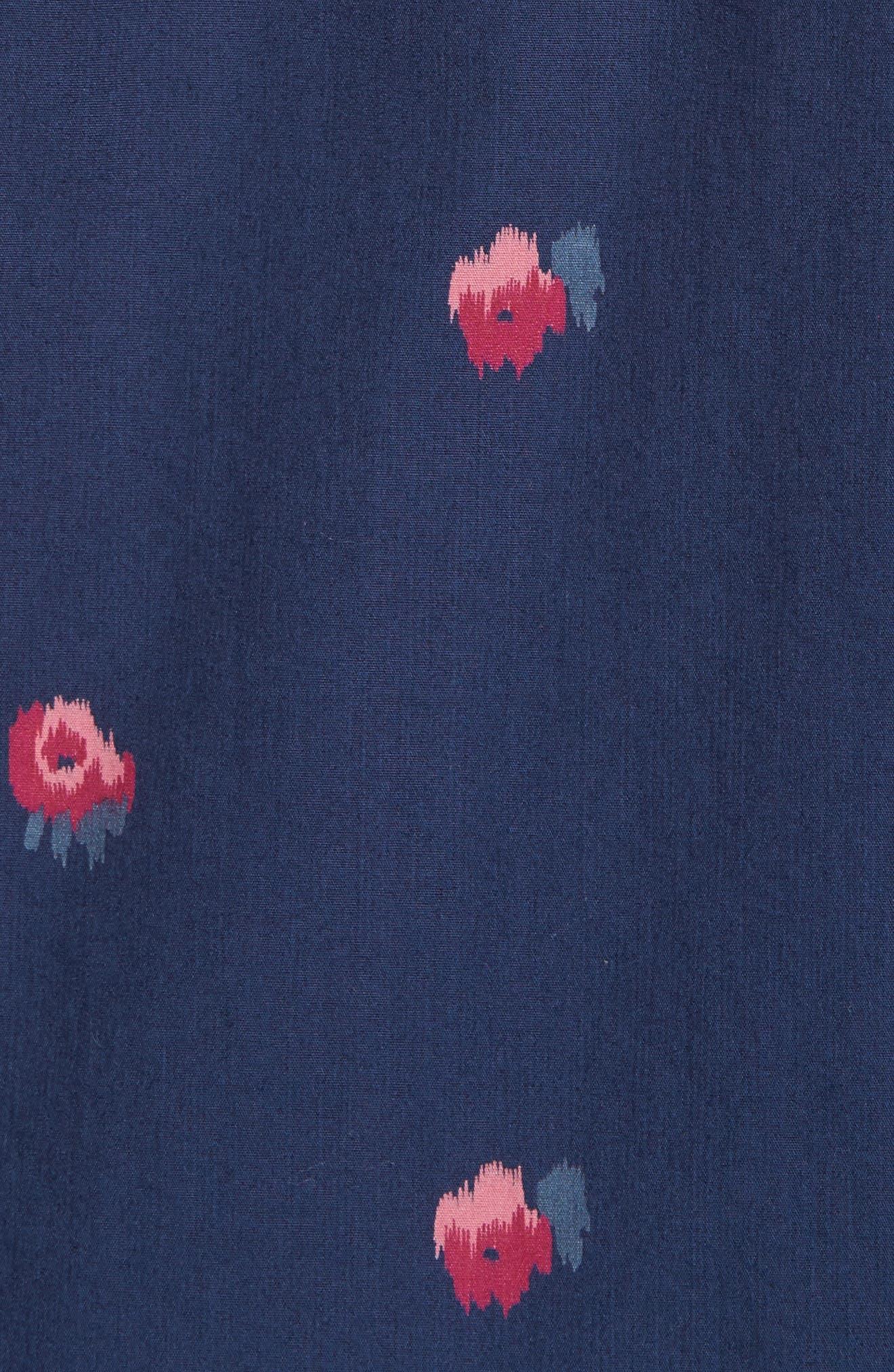 Slim Fit Washed Rose Print Sport Shirt,                             Alternate thumbnail 5, color,                             400