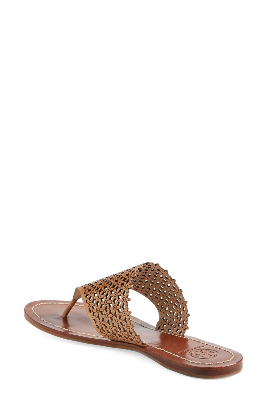 TORY BURCH,                             'Daisy' Perforated Sandal,                             Alternate thumbnail 4, color,                             671