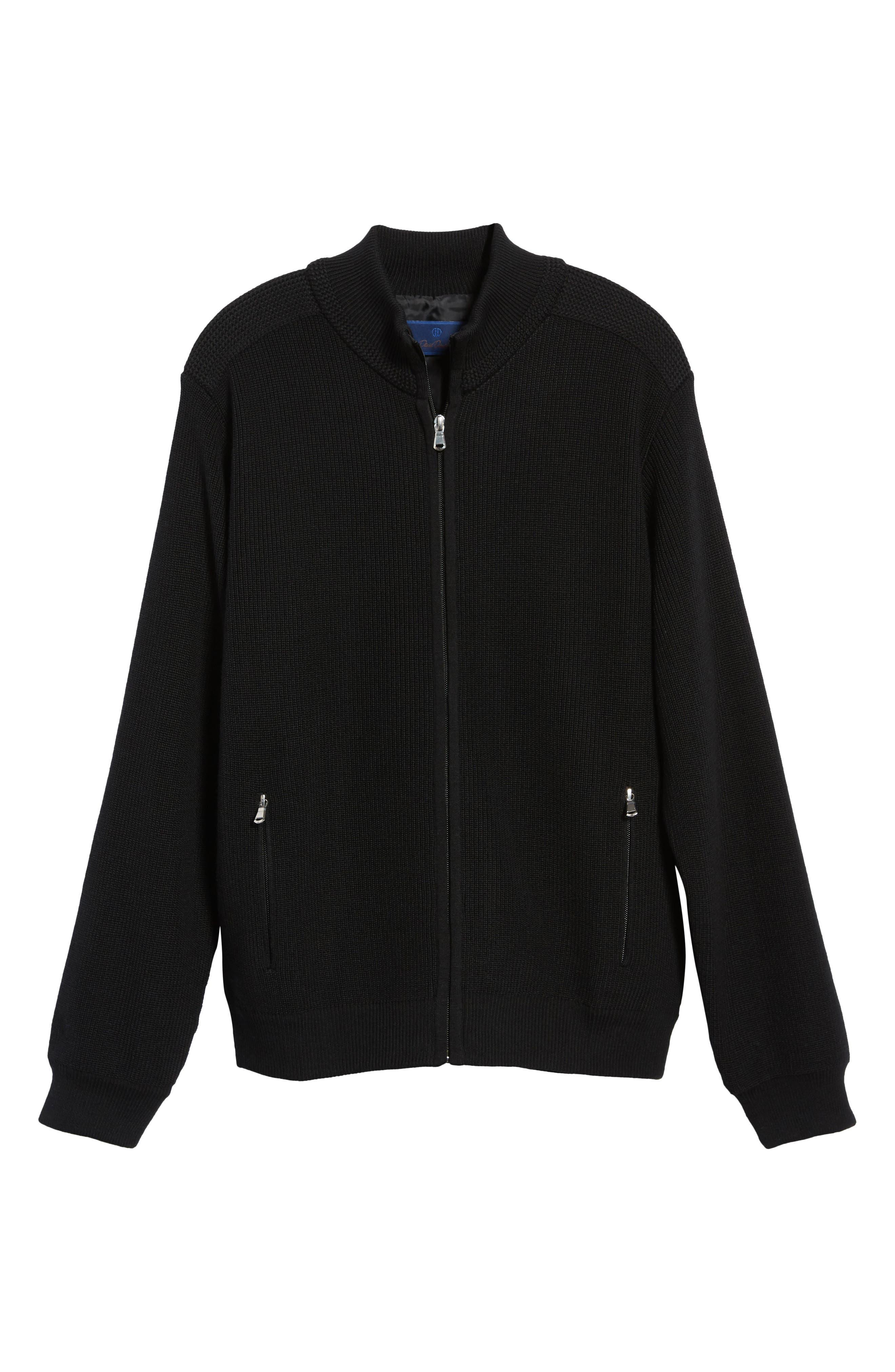 Water Resistant Merino Wool Blend Sweater,                             Alternate thumbnail 7, color,                             BLACK